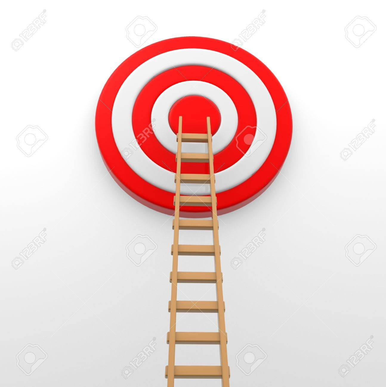 Ladder to the middle of the red target. 3d render Stock Photo - 15117894