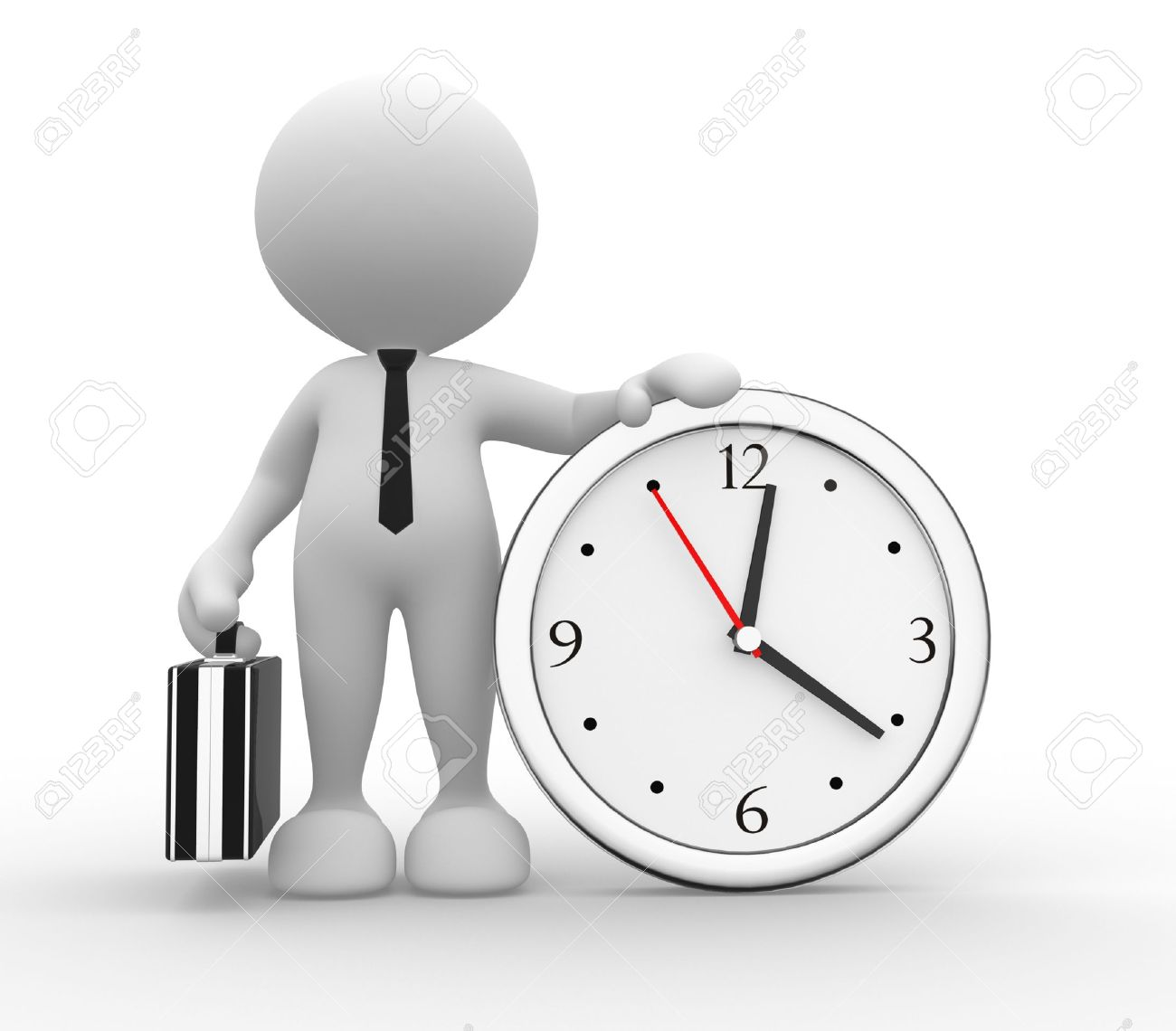 3d people - man, person running out of time  A clock Stock Photo - 15117911
