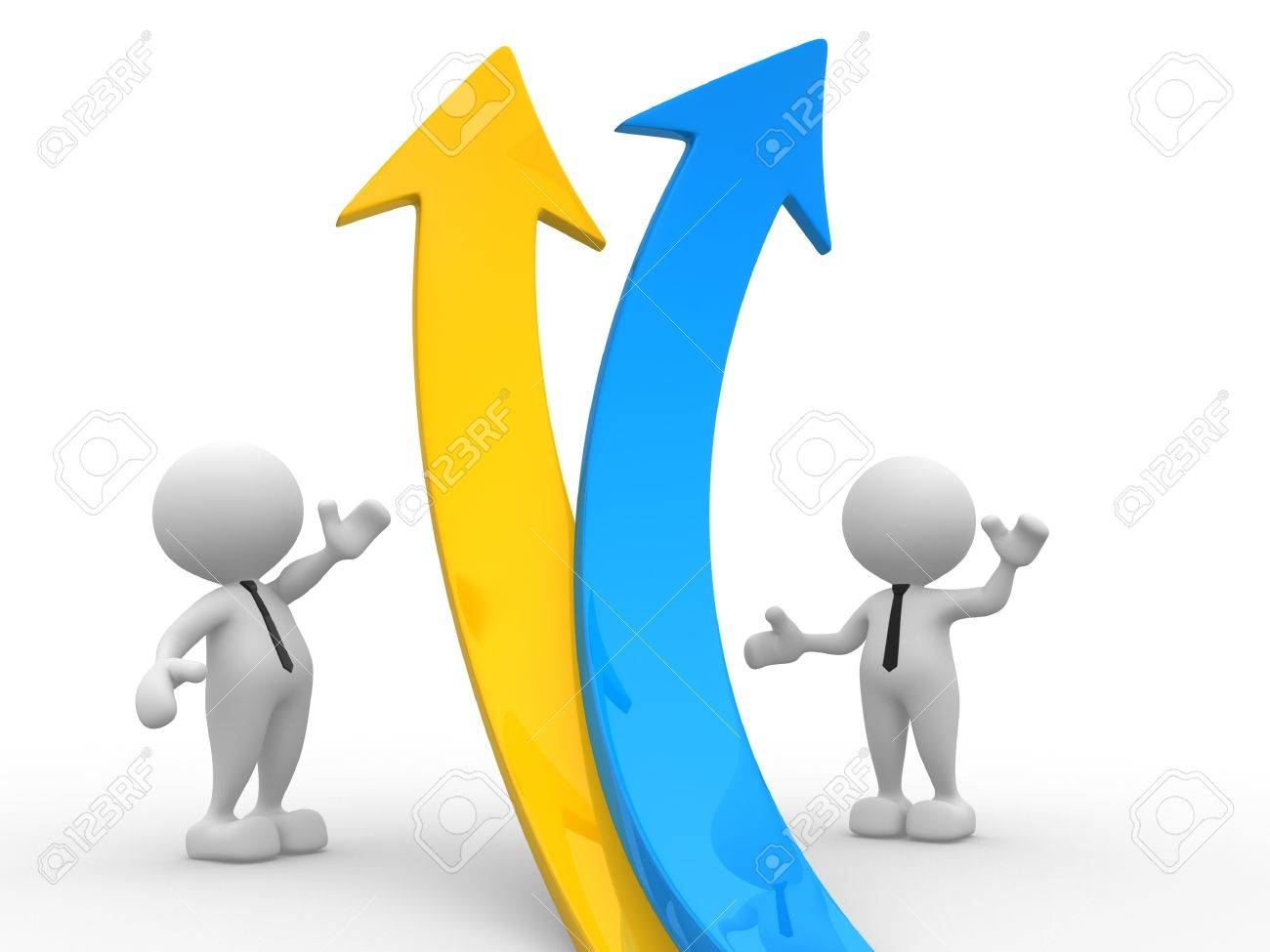 3d people - men, person  and a graph arrow. Business partners. Stock Photo - 15117927