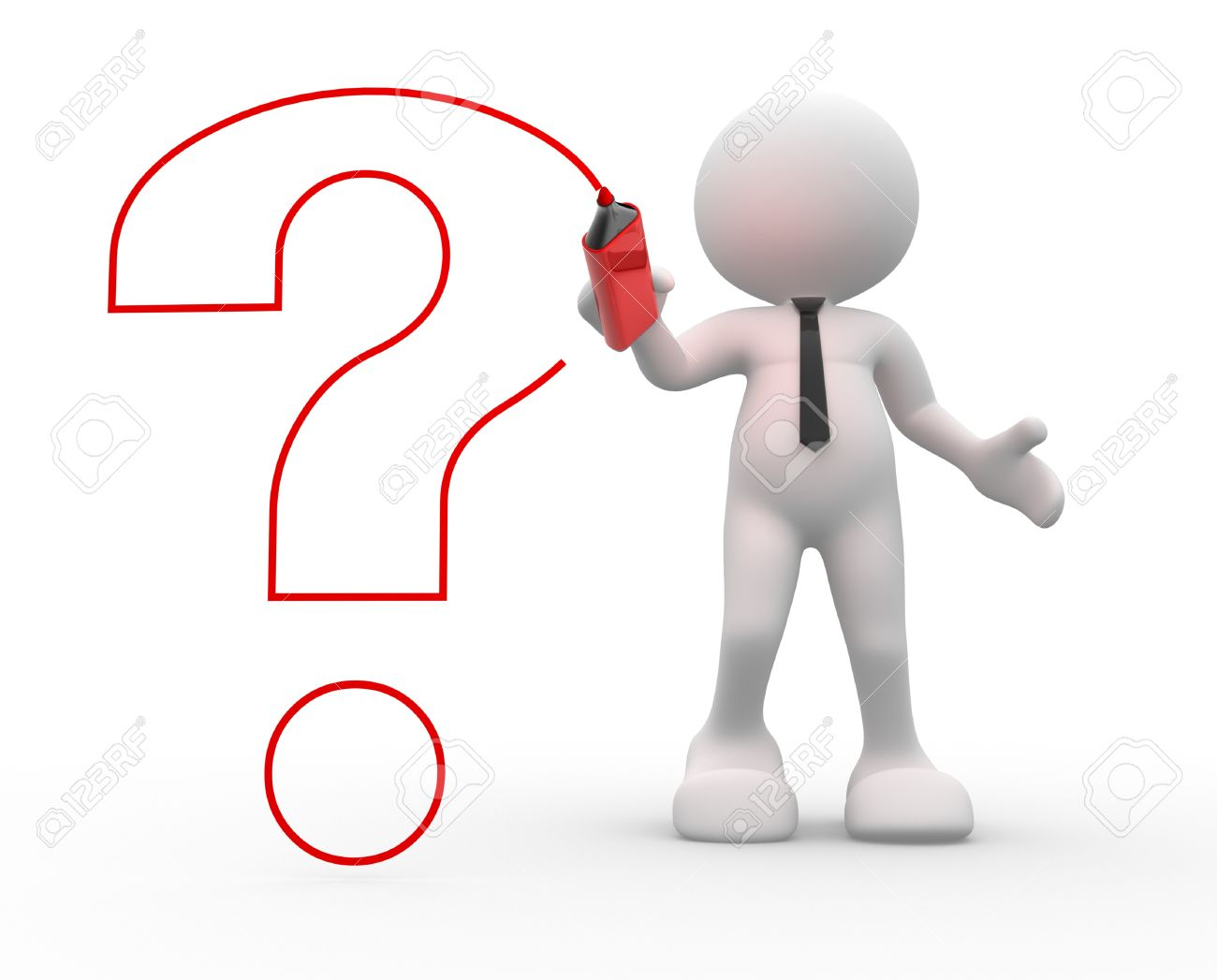 3d people - man, person drawing with marker a question mark Stock Photo - 15298055