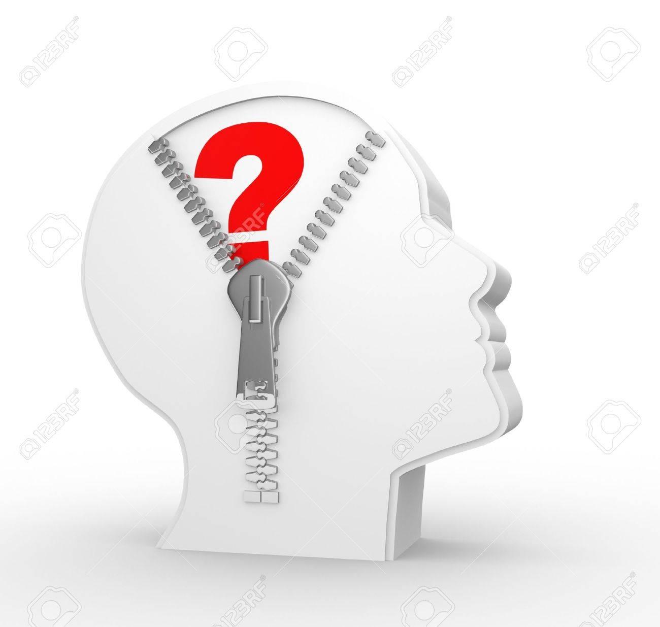 3d human head and a open zipper. Question mark Stock Photo - 15298140