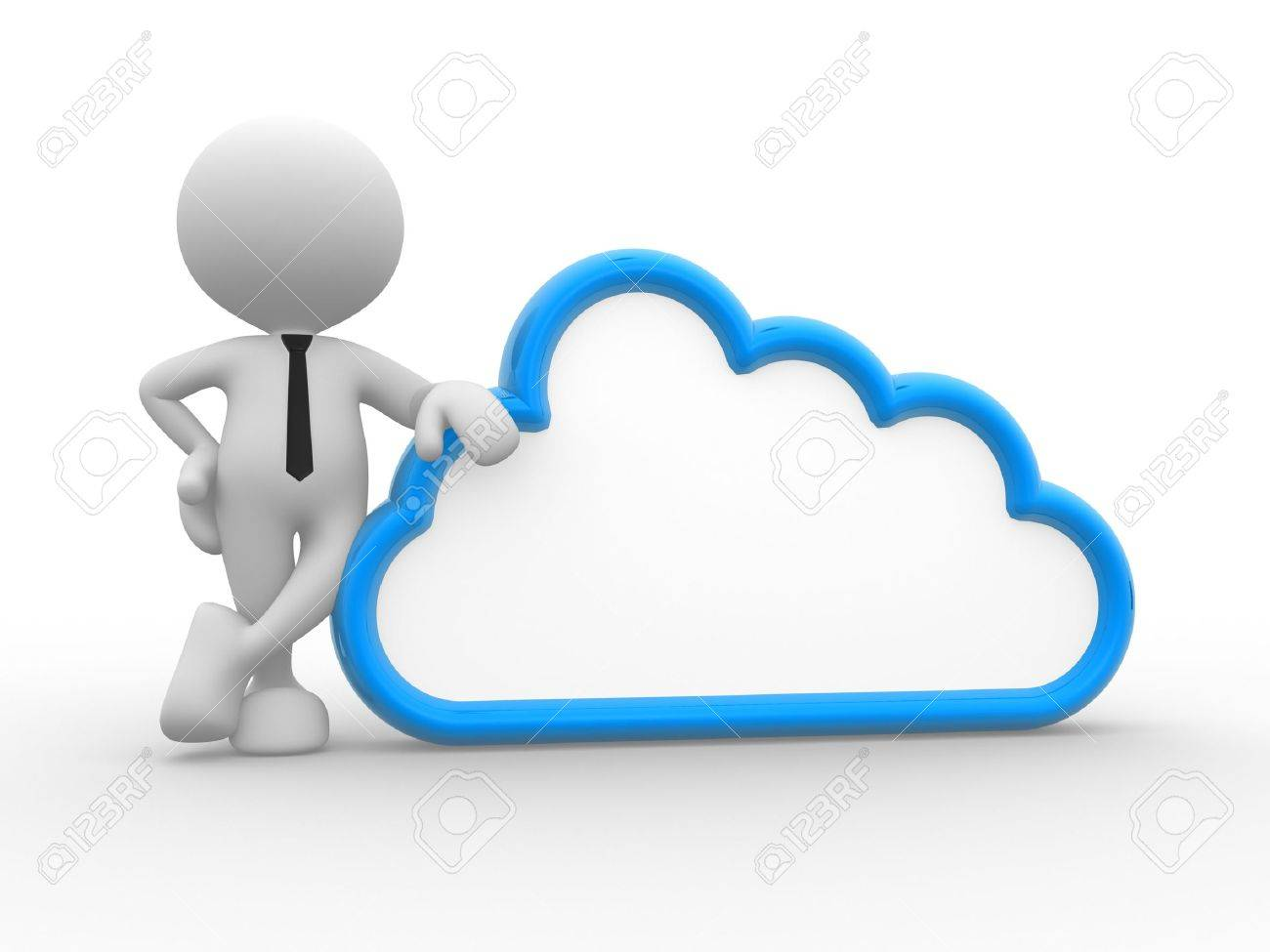 3d people - man, person standing near to a cloud. Stock Photo - 15519451