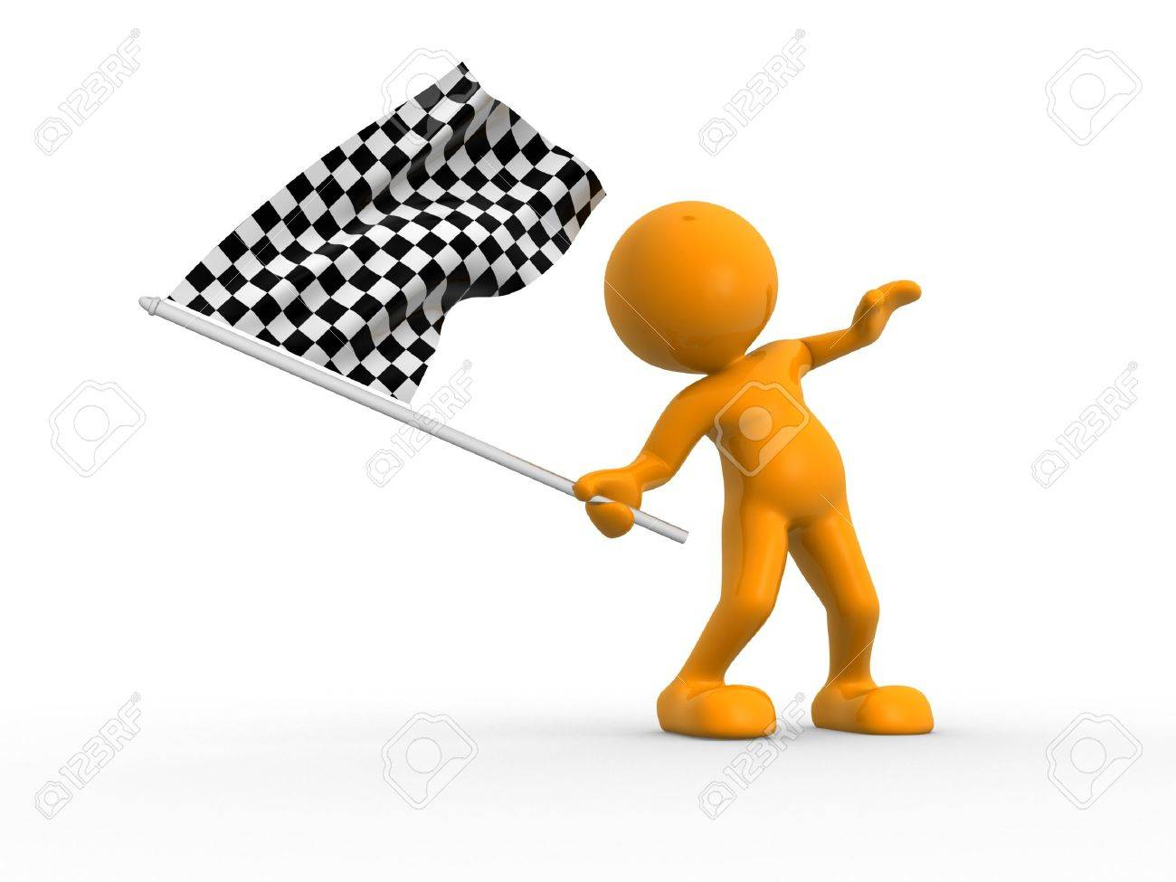 3d people - man, person waving a flag. Finish Stock Photo - 15428760