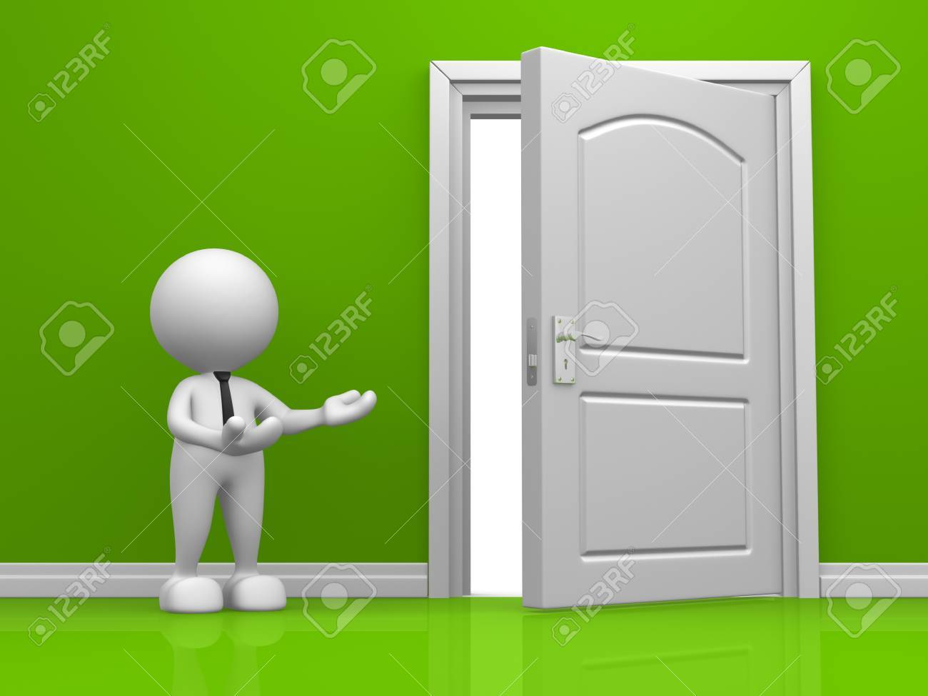 3d door in the green wall. 3d render Stock Photo - 15428898