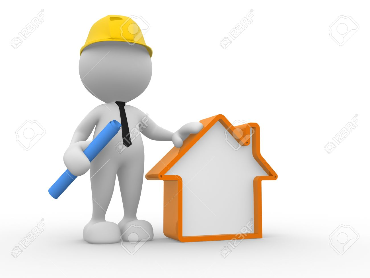 3d people - man, person with a house. Builder Stock Photo - 15588167