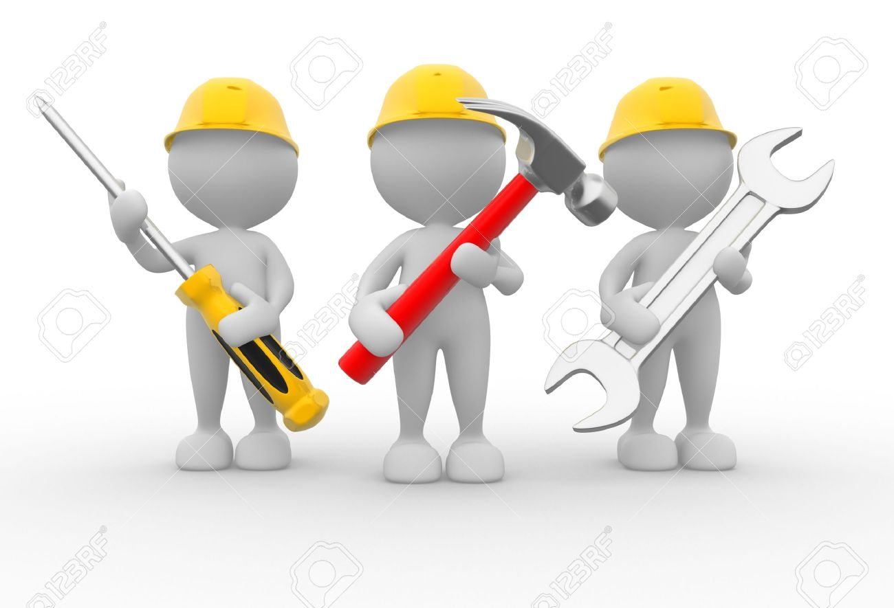 3d people - men, person with the tools in the hands. Wrench, hammer and screwdriver - 15961663