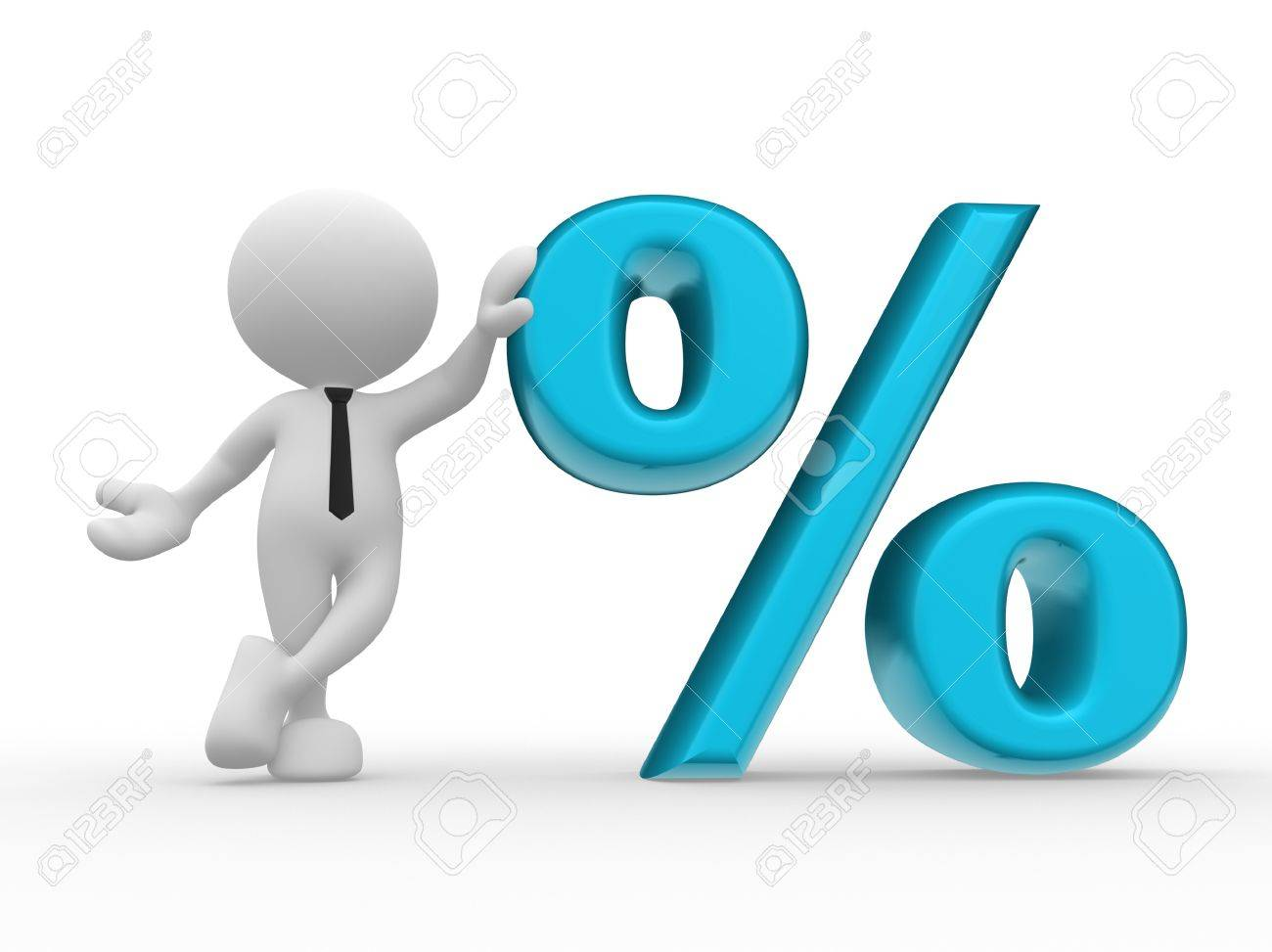 3d people - man, person with sign percent     The discount offer Stock Photo - 16850464