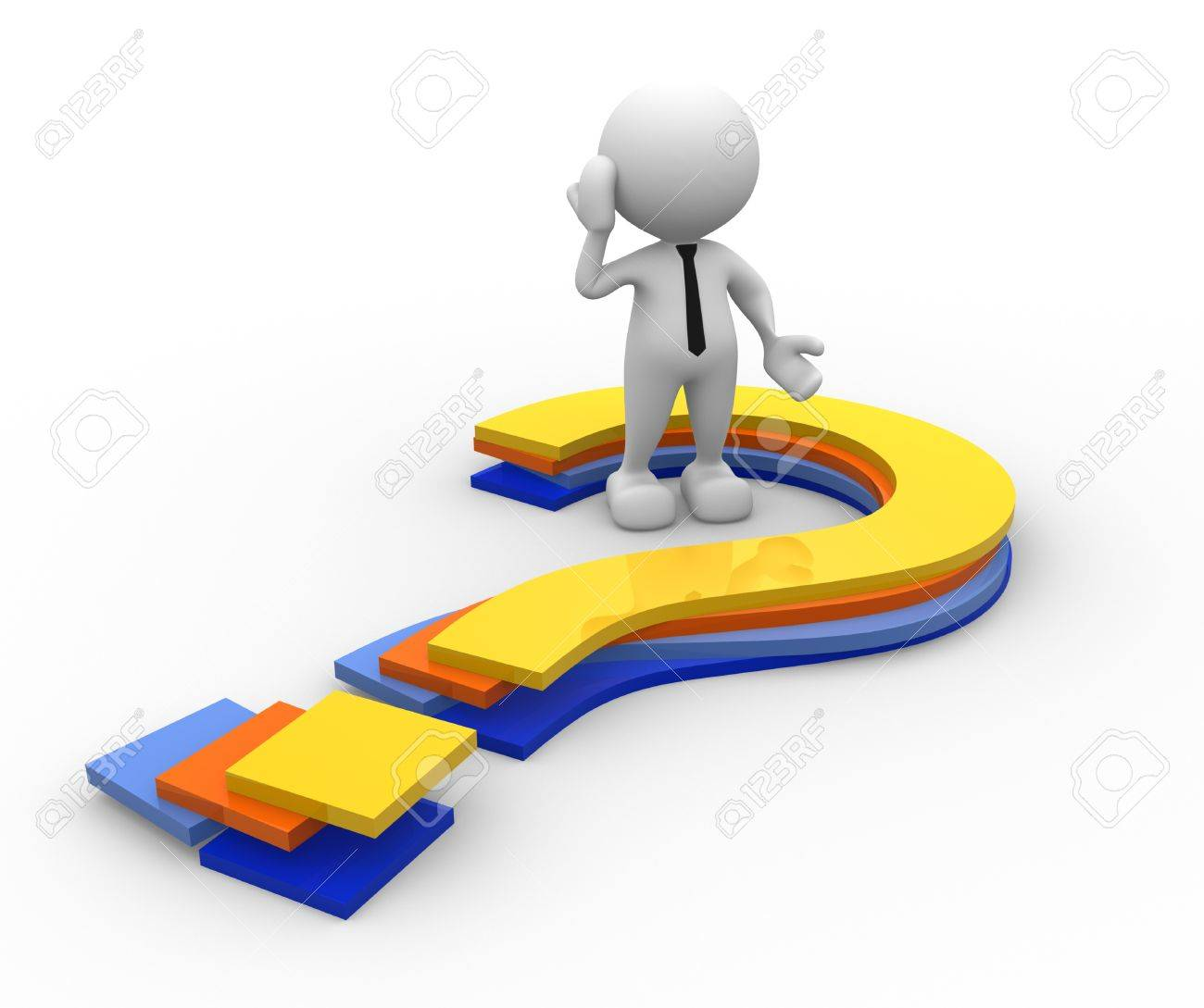 3d people - man, person and question marks Stock Photo - 16897069