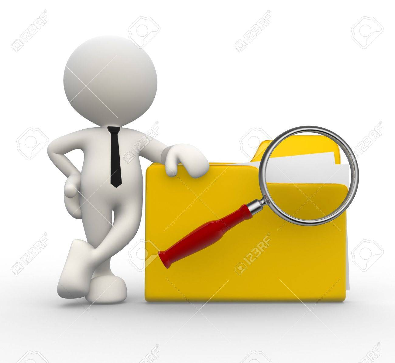 3d people - man, person with a folder and a magnifying glass. Search concept Stock Photo - 16930988