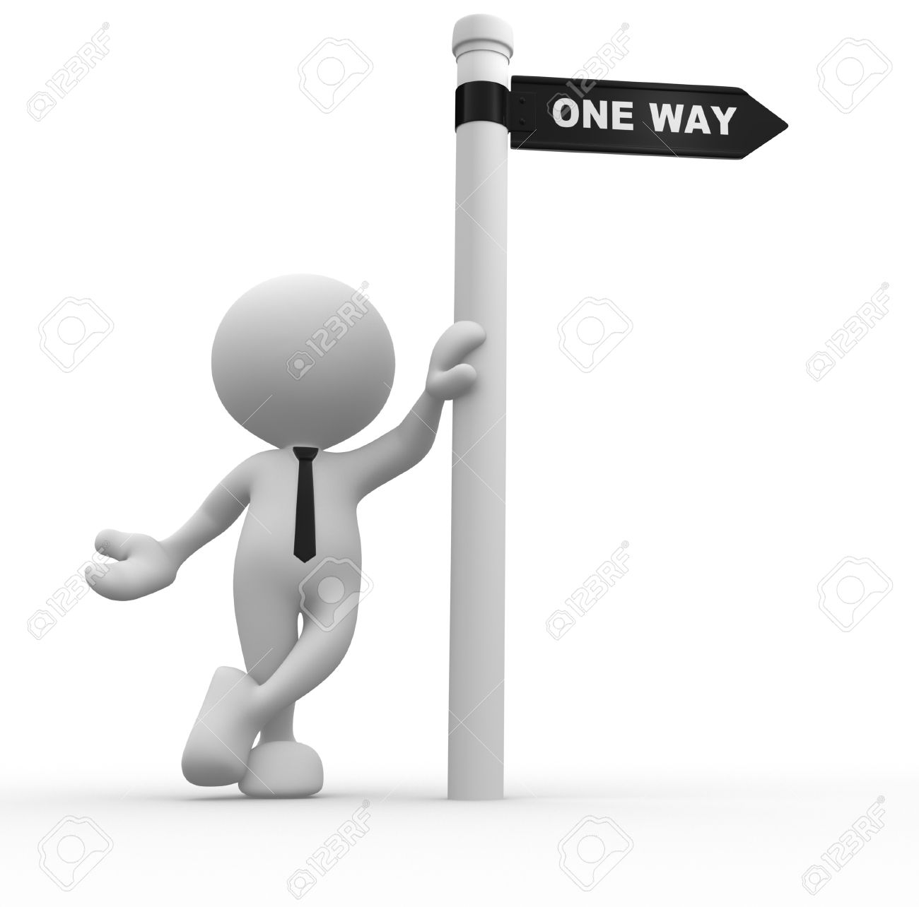 3d people - man, person with road sign and word