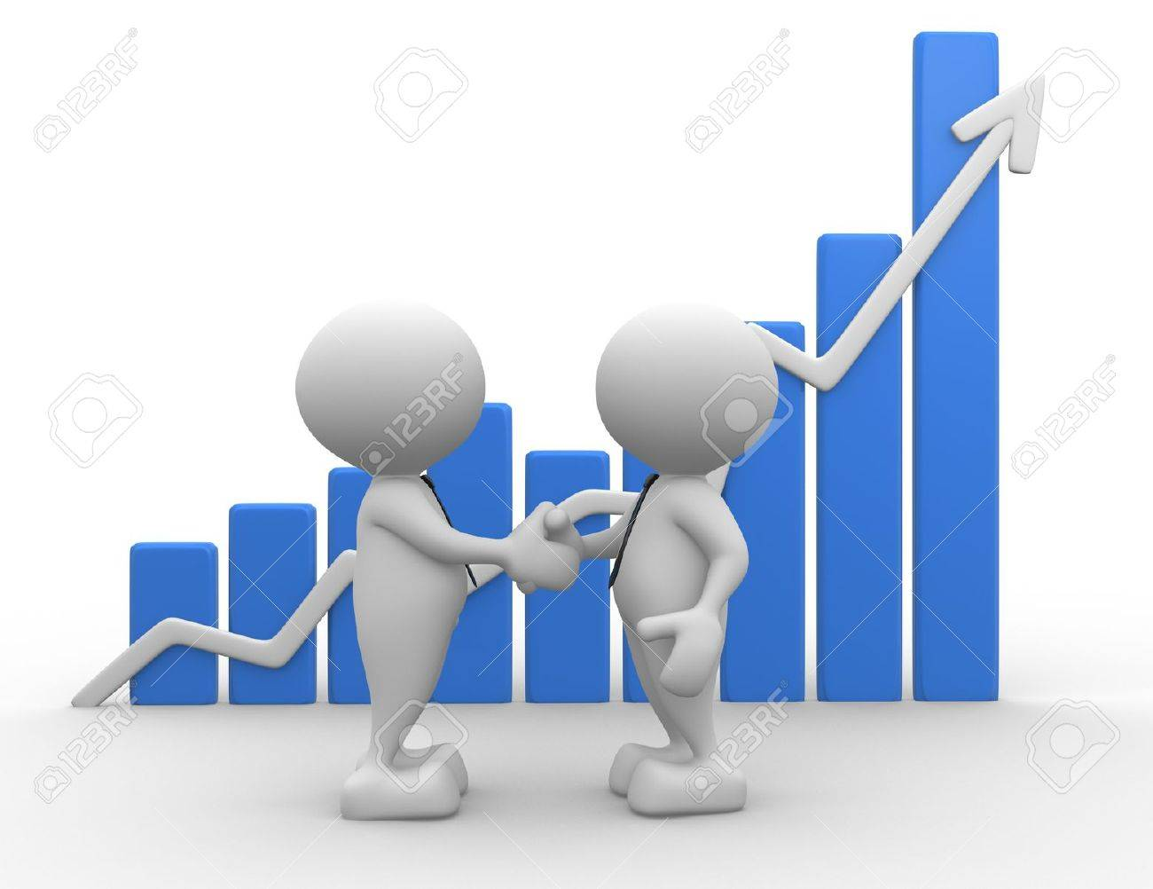 3d people - men, person shake hands with growing graph Stock Photo - 16945495