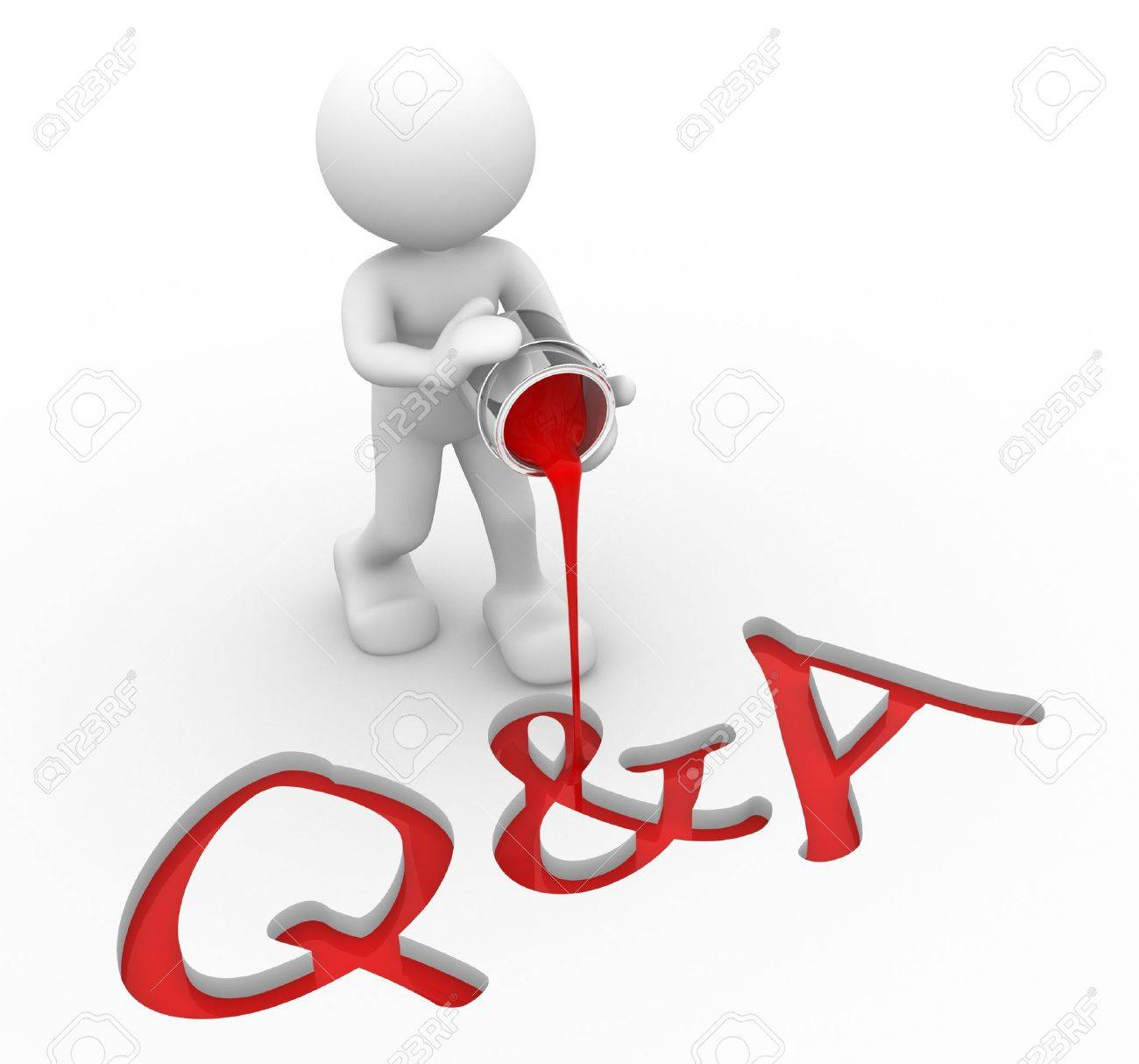 3d people - man , person with a bucket of paint. Q&A ( Questions and Answers) Stock Photo - 16966495