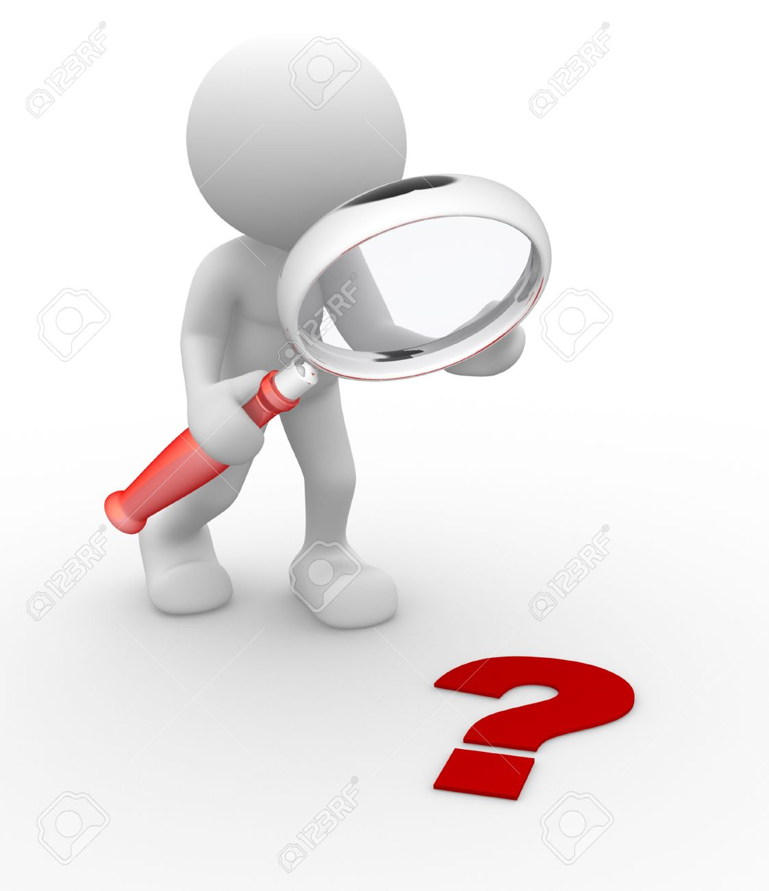 3d person with magnifying glass and question mark stock images image - 3d People Man Person Magnifying Glass Question Mark Red Search Stock Photo 17048595