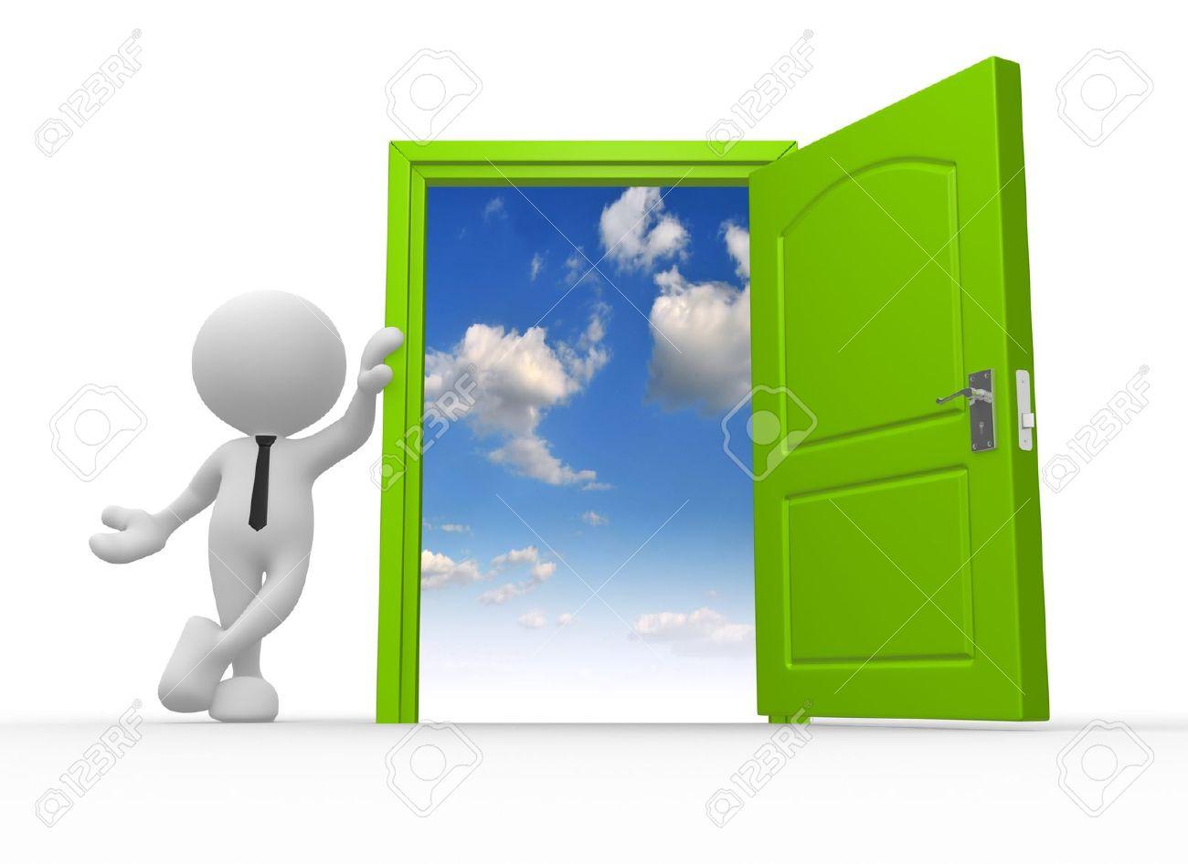 ... person and a open door to Open Door Welcome ...