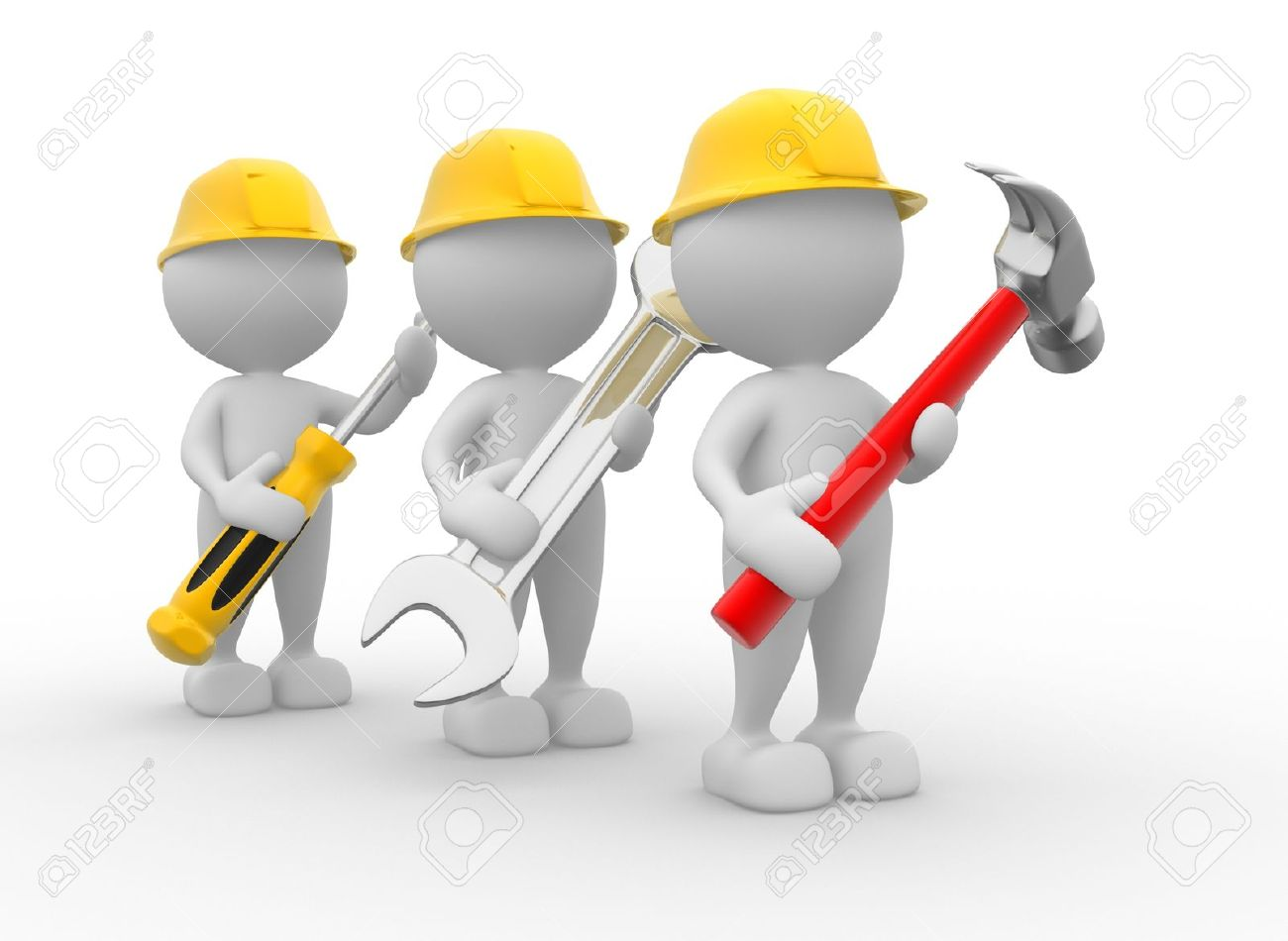 3d people - men, person with the tools in the hands. Wrench, hammer and screwdriver Stock Photo - 17075733