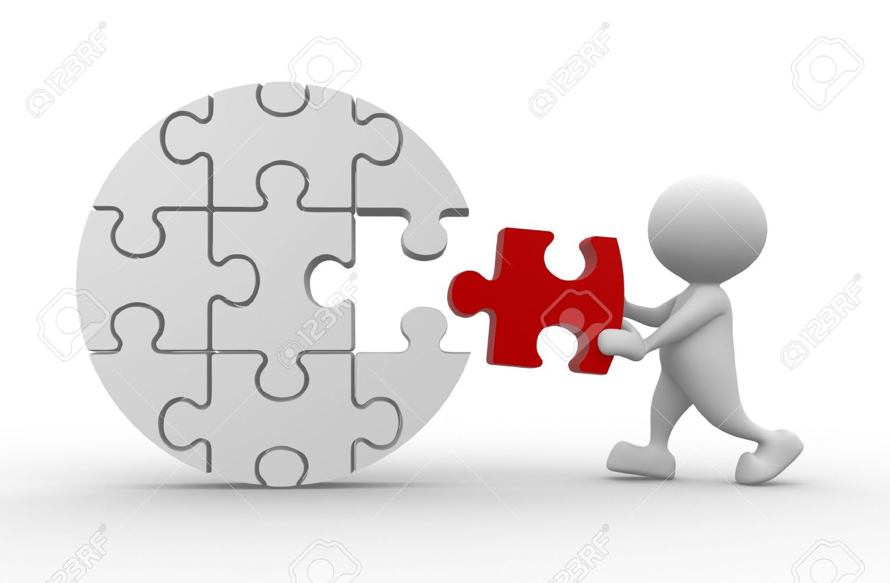 3d People - Man, Person And Last Piece Of Puzzle. Stock Photo ...