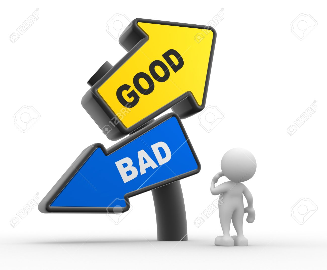 3d people - man, people standing in front of a road sign. Confusion - good or bad Stock Photo - 17187631