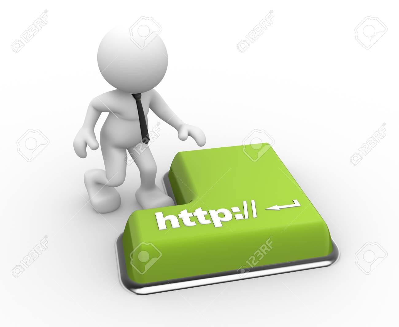 3d people - man, person  with a keyboard and text http:// Stock Photo - 17187708