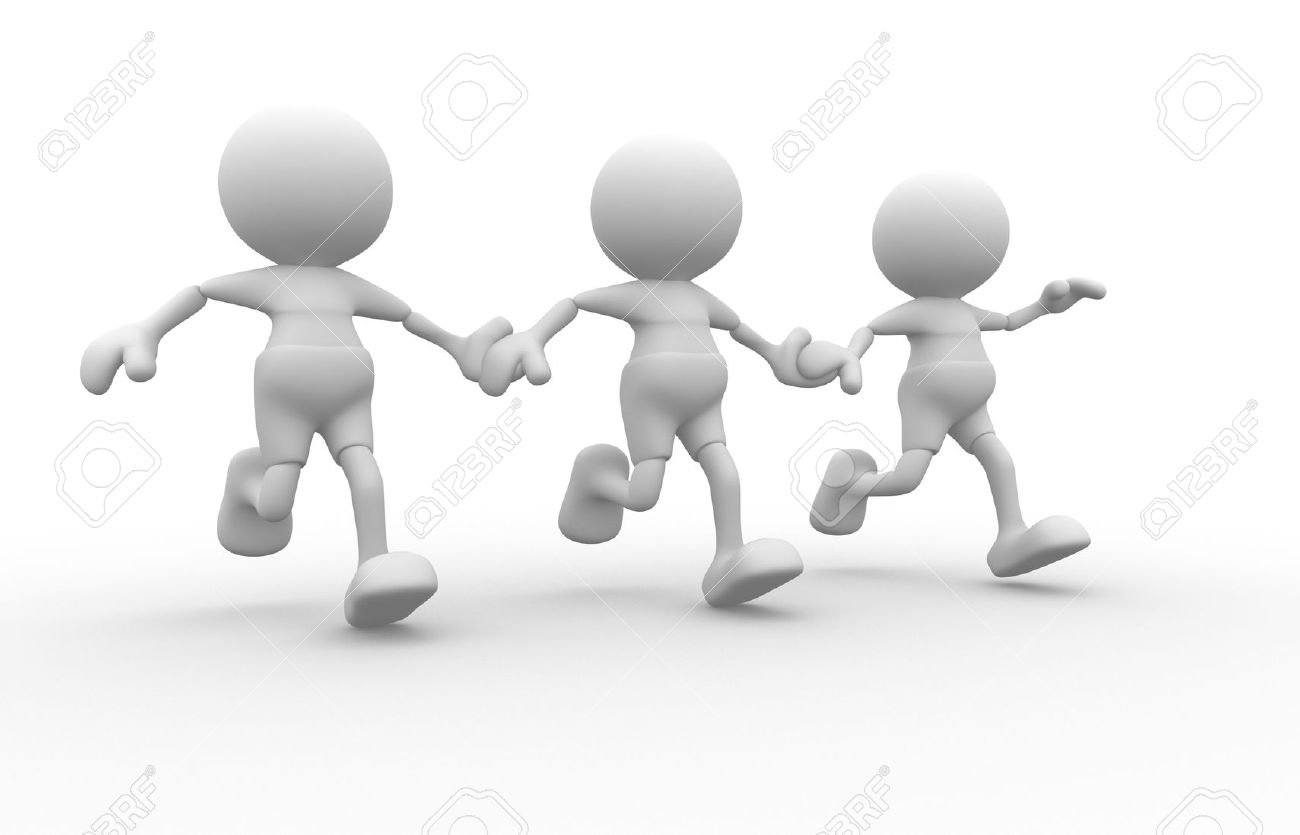 Men holding the word party concept 3d illustration stock photo - Friendship 3d People Men Person Running Together Friends