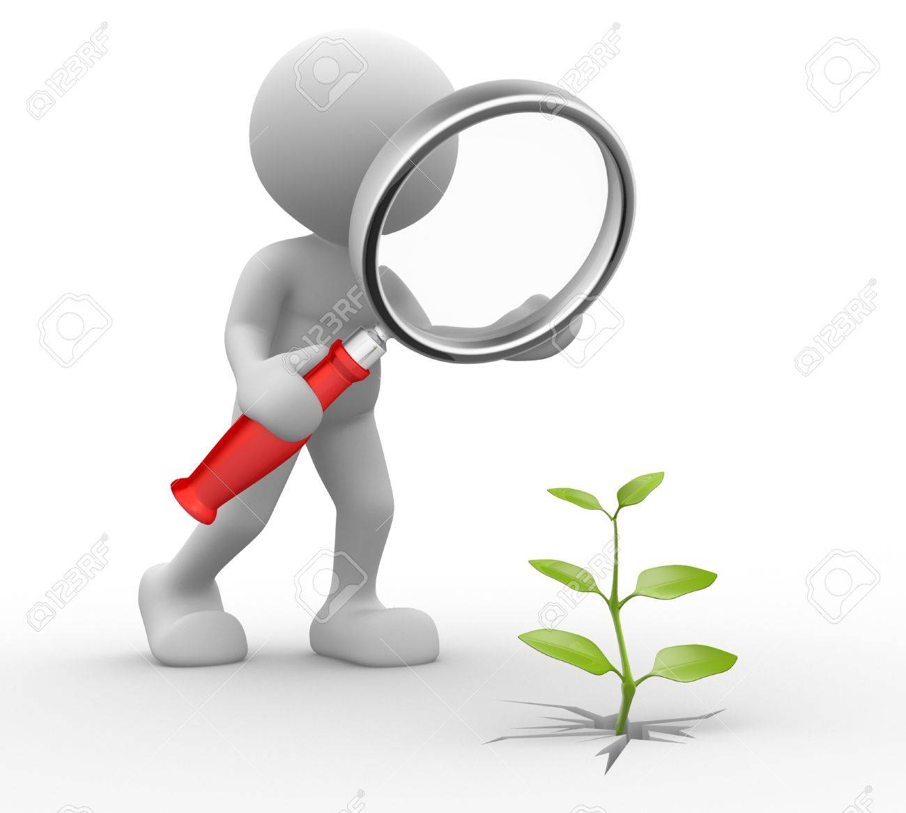 3d people - man, person with a magnifying glass and a sprout. Stock Photo - 17276687