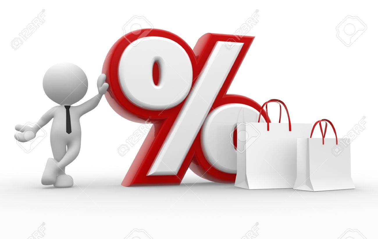3d people - man, person with a percent sign and a shopping bag Stock Photo - 17341845