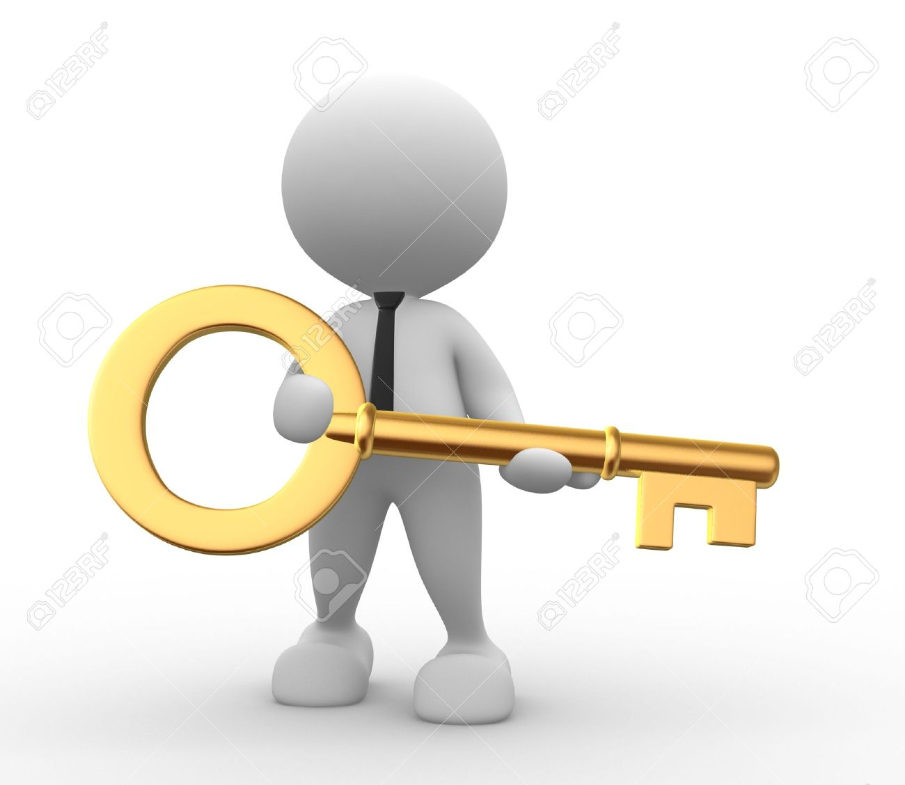 With golden key 3d rendering plan concept with golden key 3d rendering - Gold Key 3d People Man Person With A Gold Key