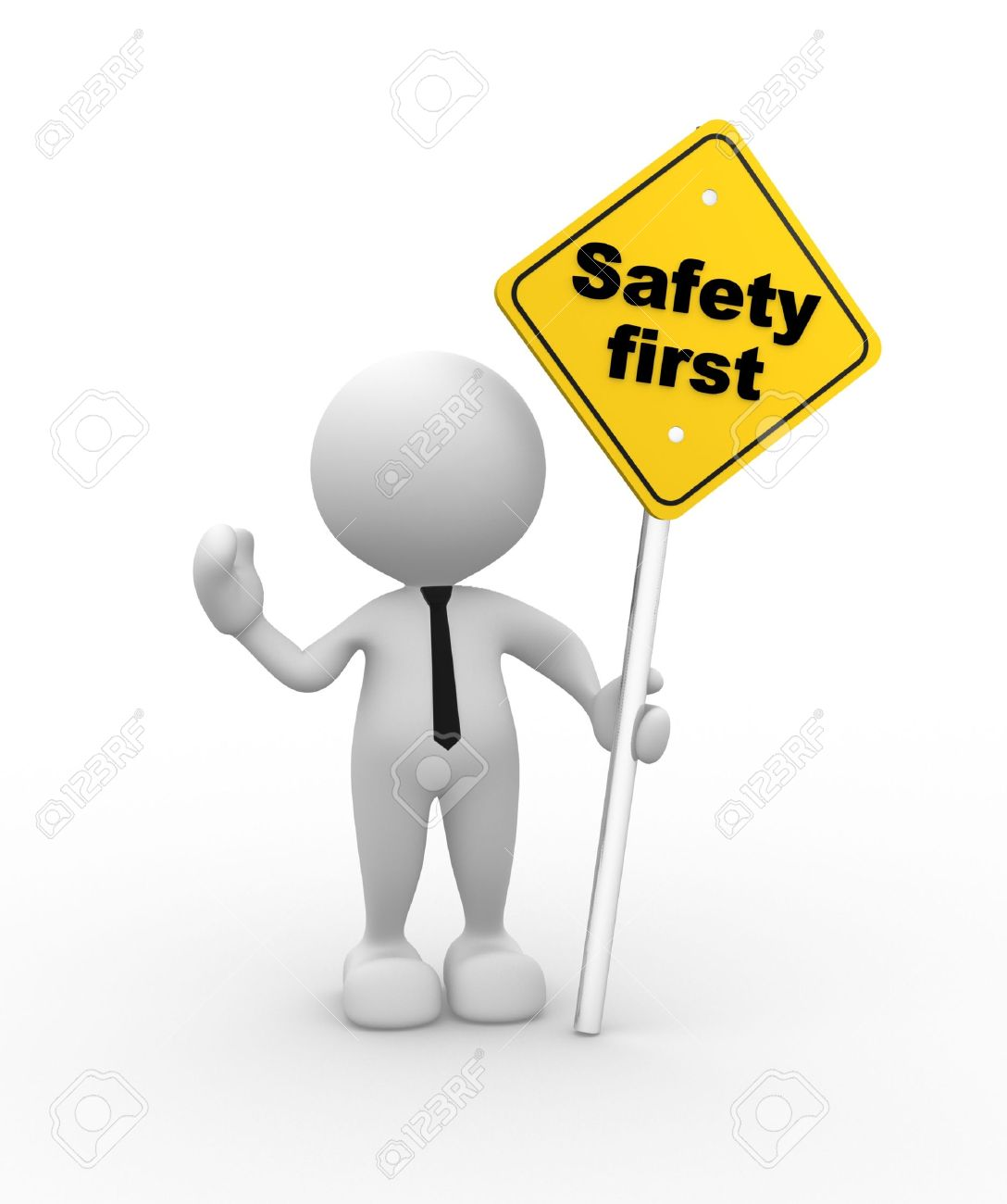 3d people man person with a safety first sign in hand stock photo