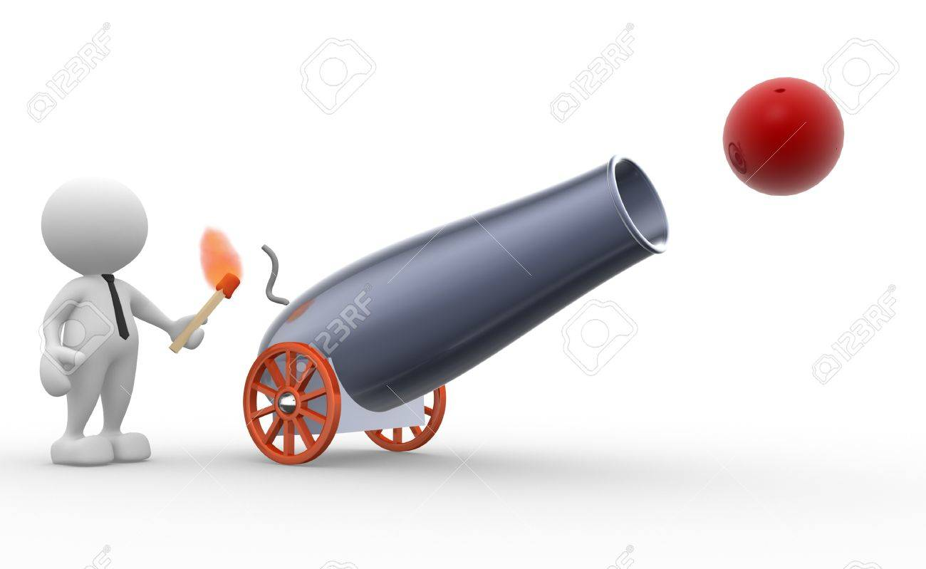 3d people - man, person with a cannon. Gunner Stock Photo - 17433642