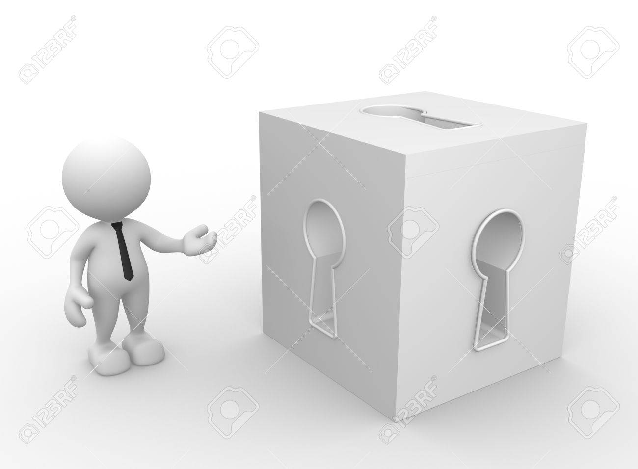 3d people - man, person with a cube and keyhole. Stock Photo - 17433783