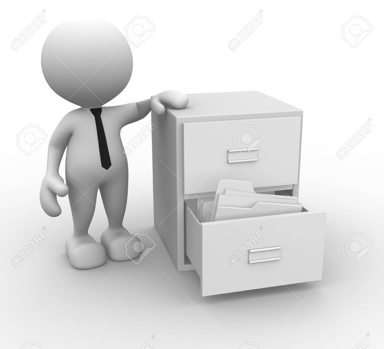 3d people - man, person and open drawer with white folders. Stock Photo - 17532527