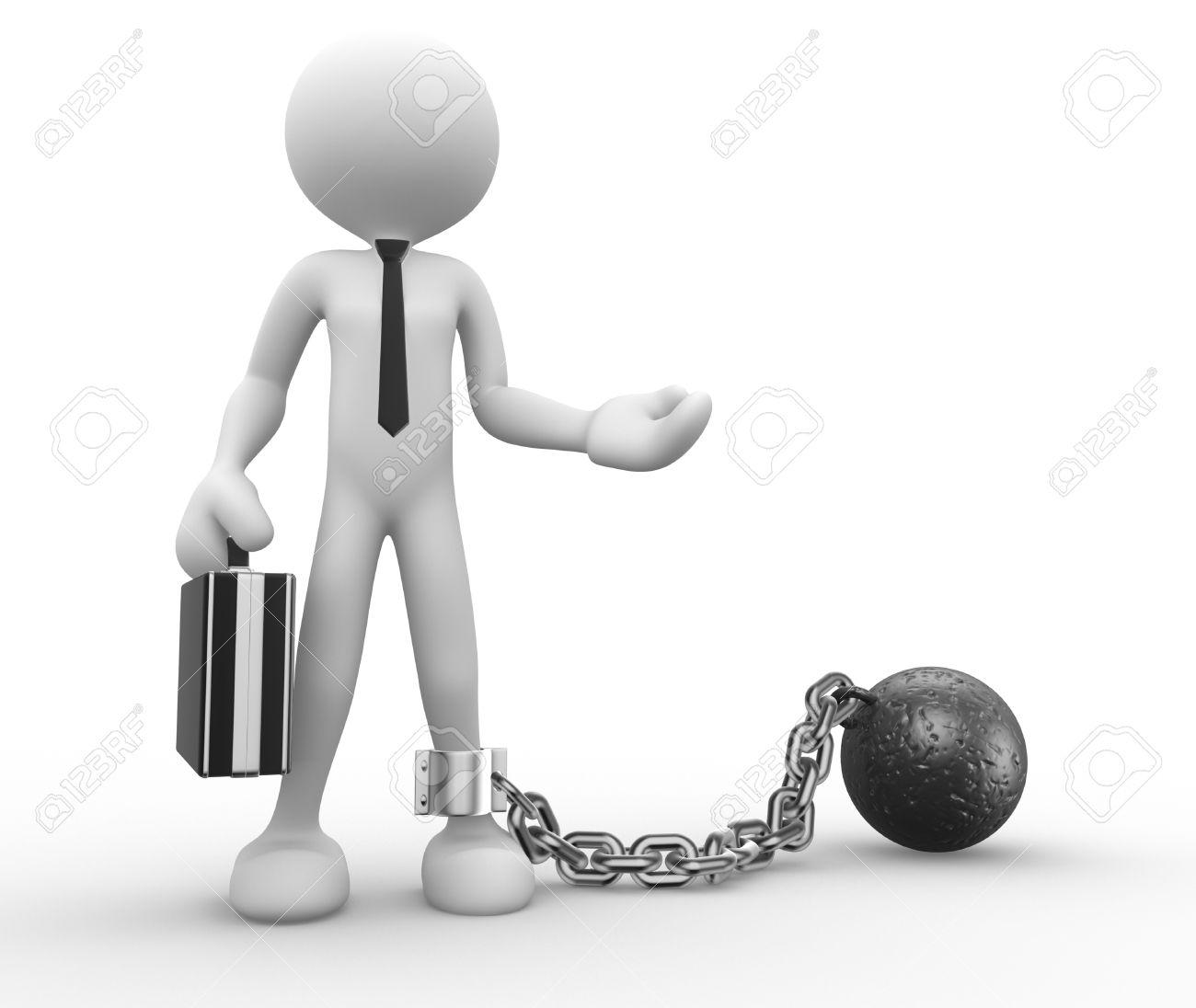 3d people - man, person with a chain ball. Prisoner. Businessman Standard-Bild - 17532586