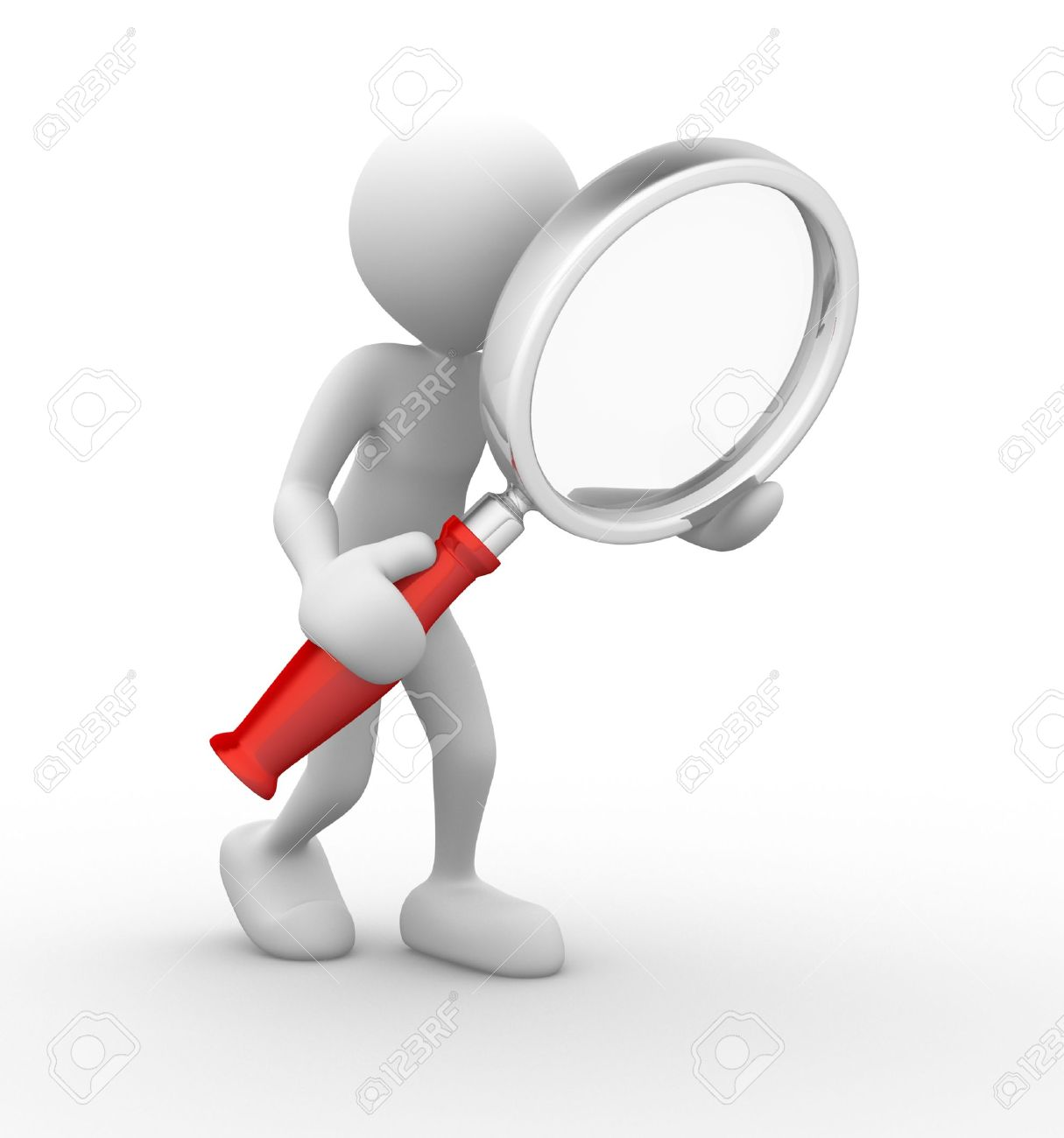 3d people - man, person with a magnifying glass. Search Concept Standard-Bild - 17532578