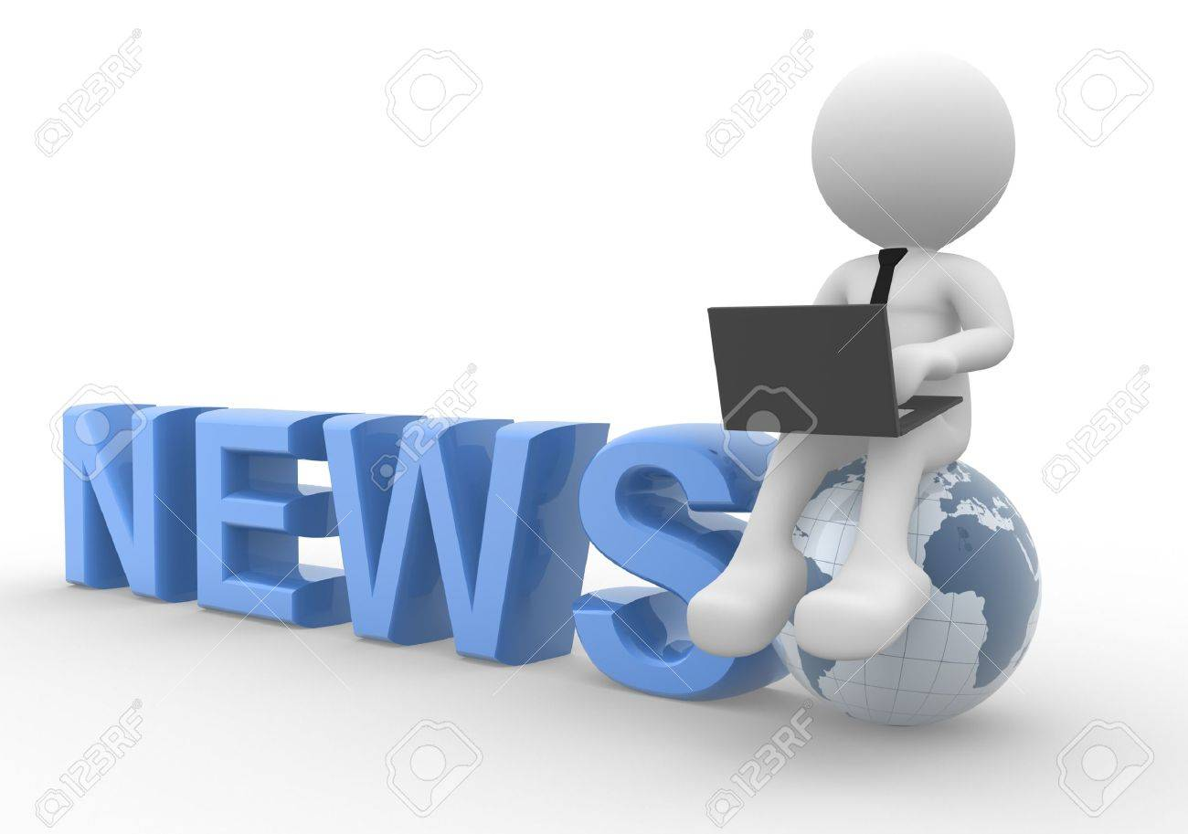 3d people - man, person with a laptop and earth globe. News concept Stock Photo - 17532587