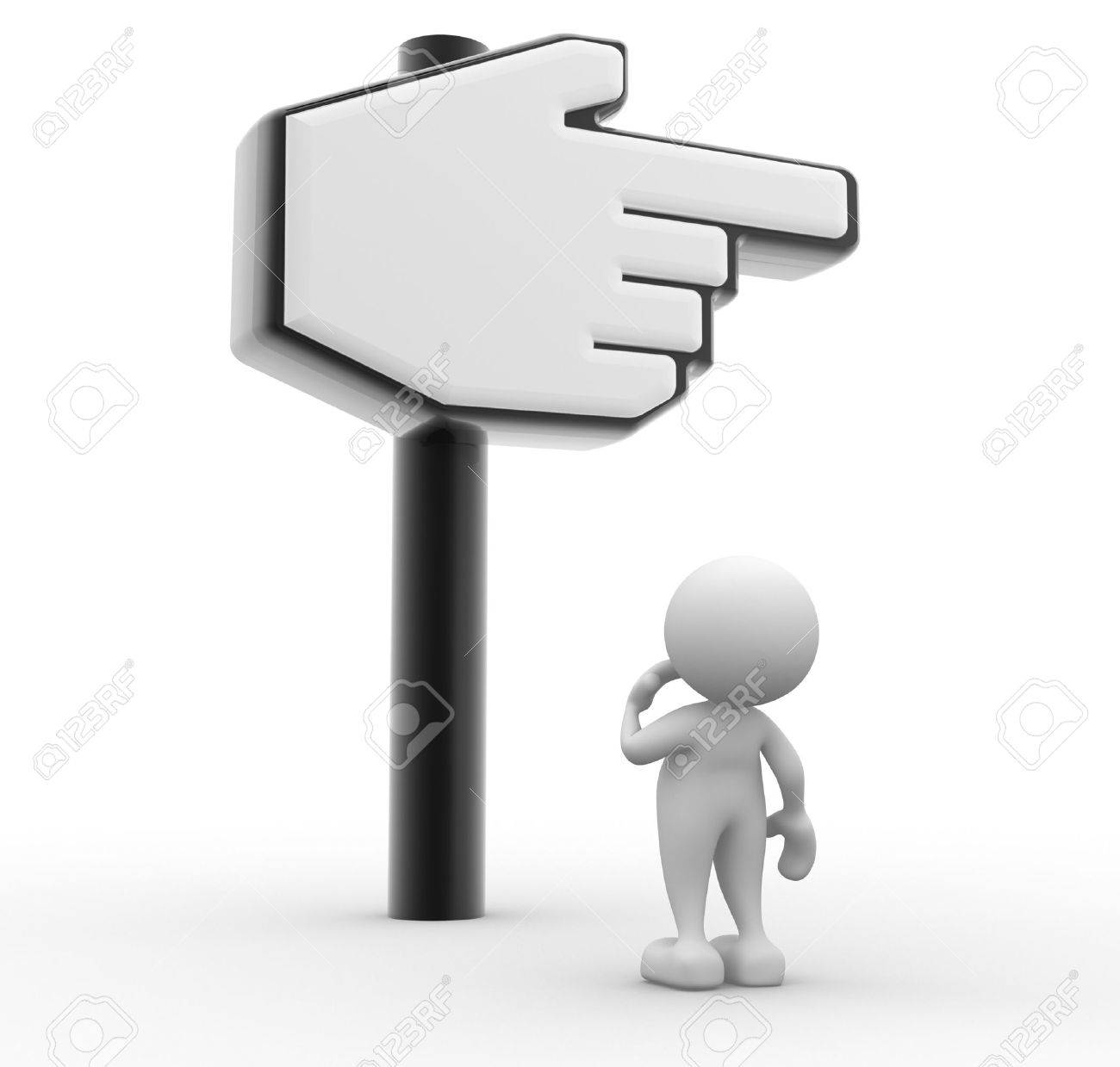 3d people - man, person with hand cursor. Confusion Standard-Bild - 17532591