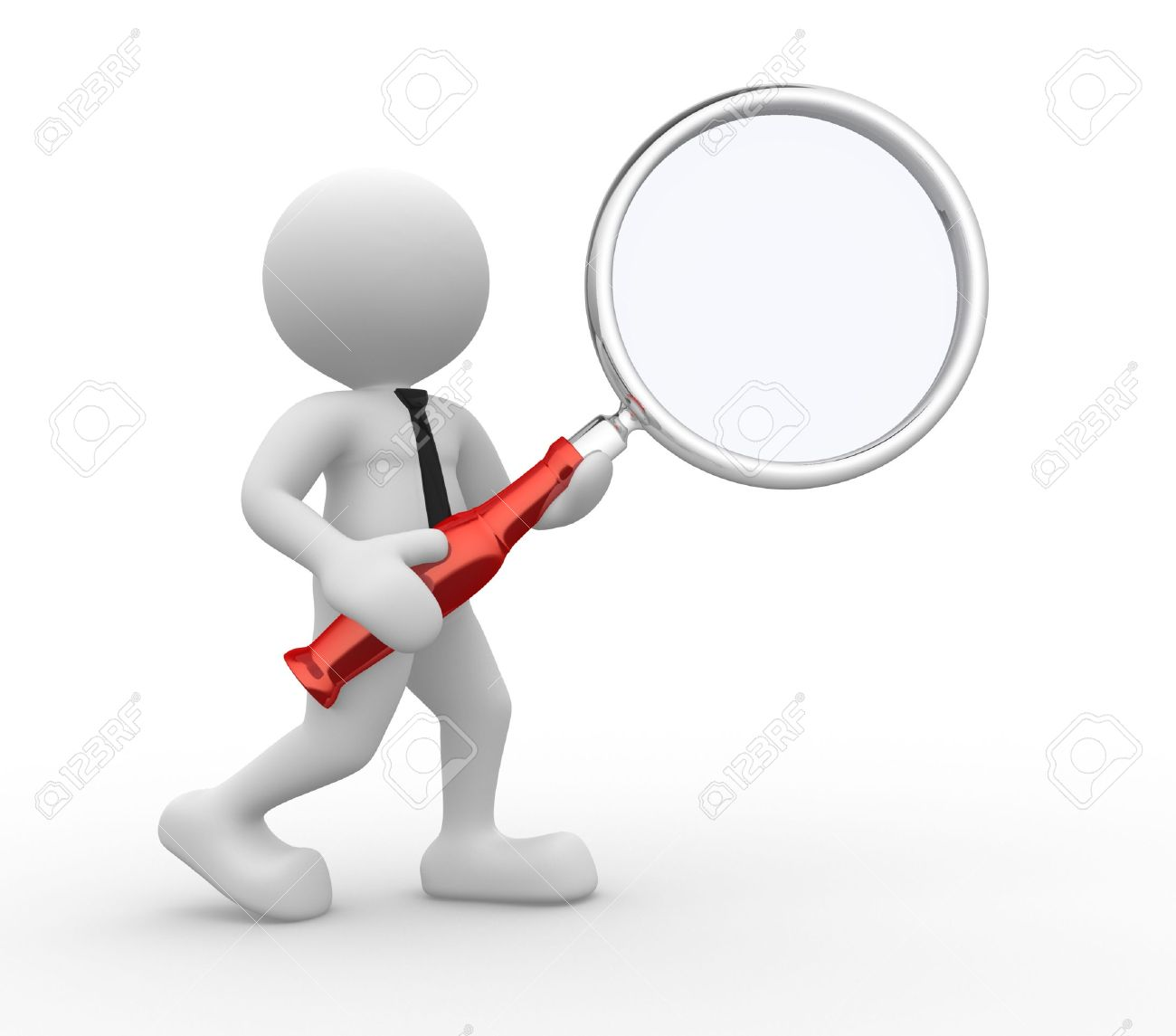 3d people - man, person  with magnifying glass Standard-Bild - 17532603