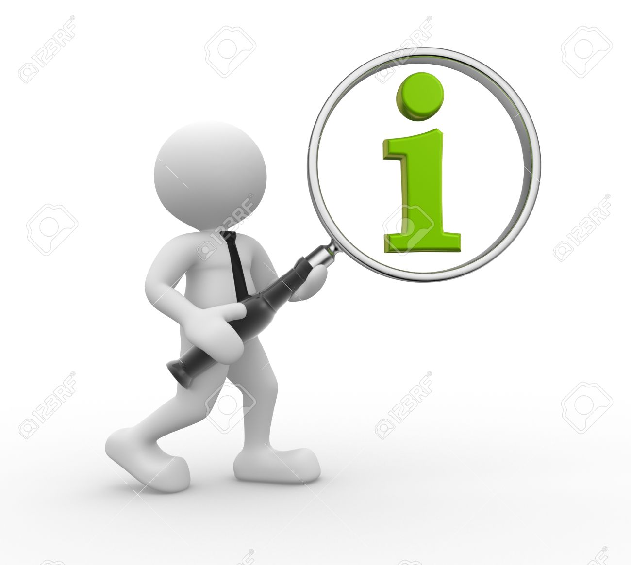 3d people - man, person  with magnifying glass and green information icon Standard-Bild - 17532606
