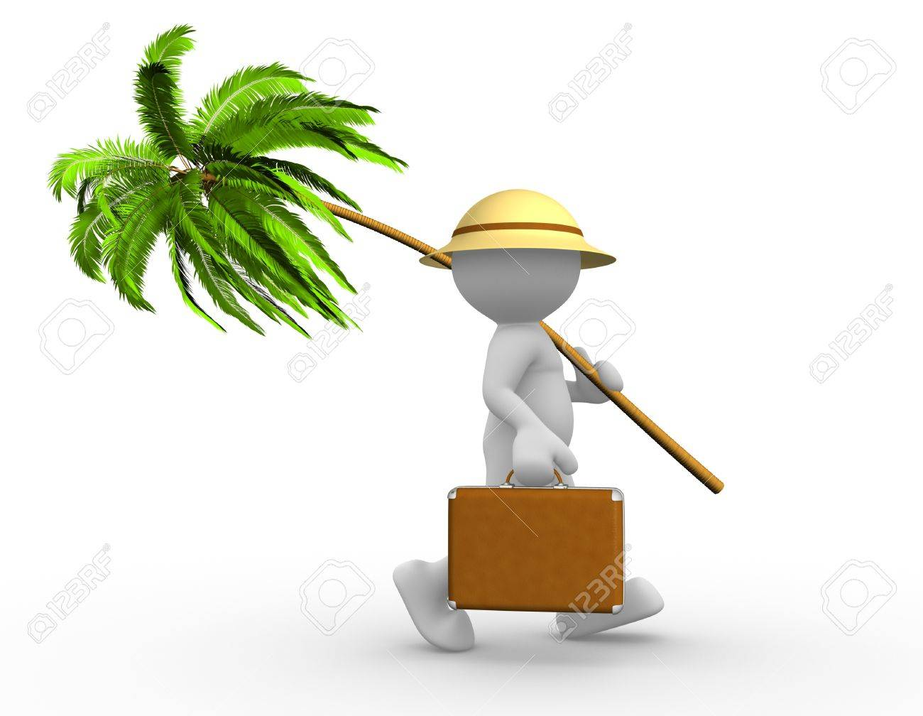 3d people - man, person with a suitcase and a palm. Going in vacation Standard-Bild - 17532613