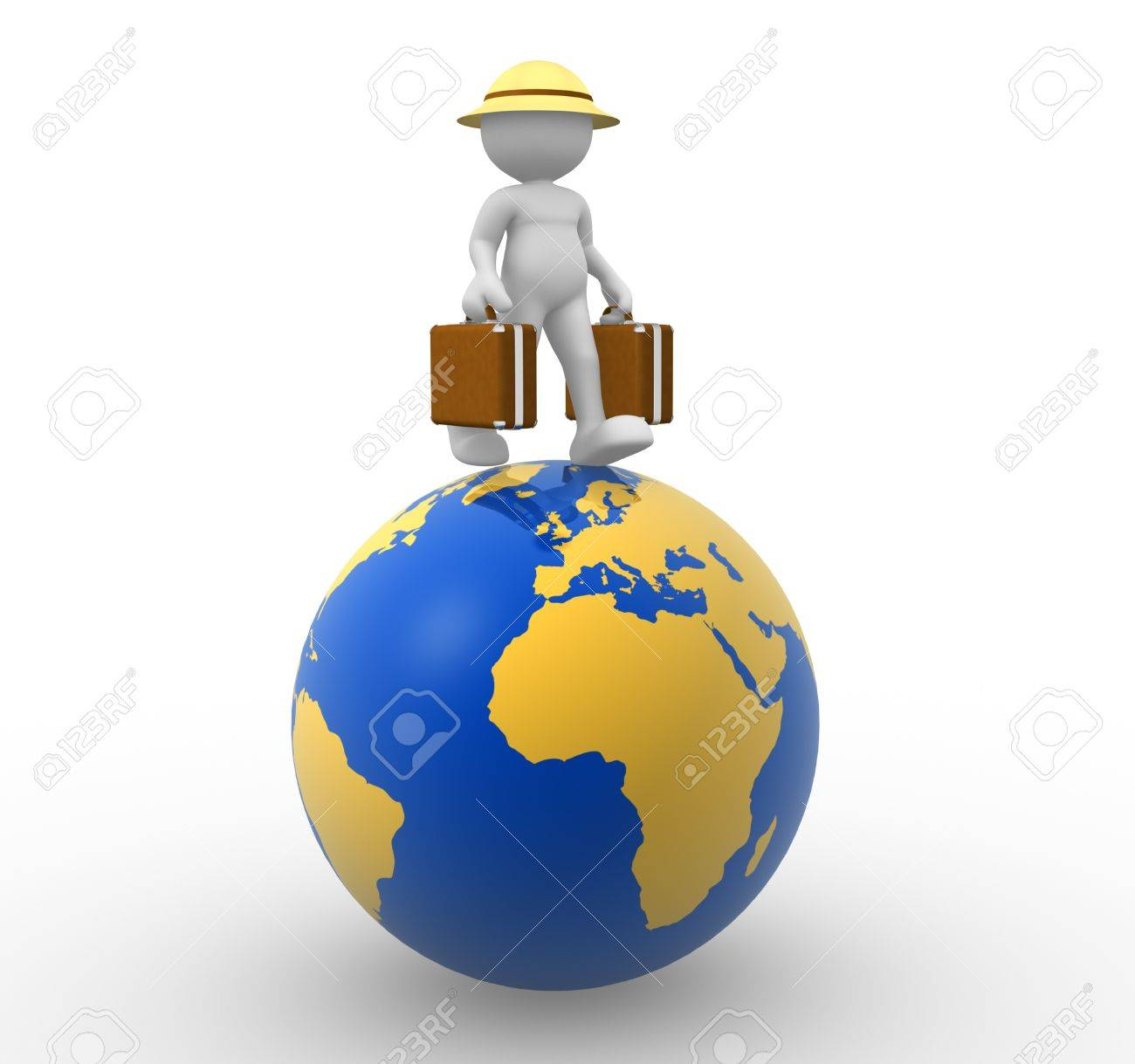 3d people - man, person with a suitcase. World Travel Stock Photo - 17532617
