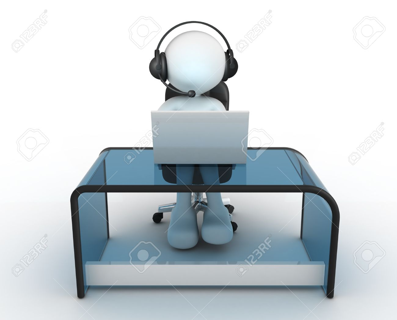 3d people - man, person with headphone sitting at the table and working on a laptop computer. Standard-Bild - 17532615