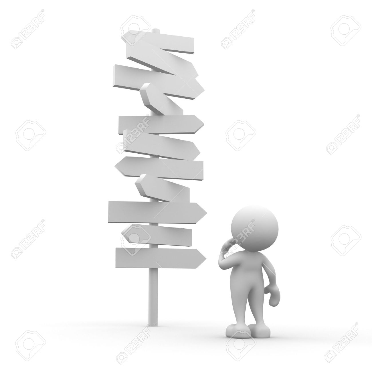 3d people - man, person standing in front of a road signs Standard-Bild - 17532551