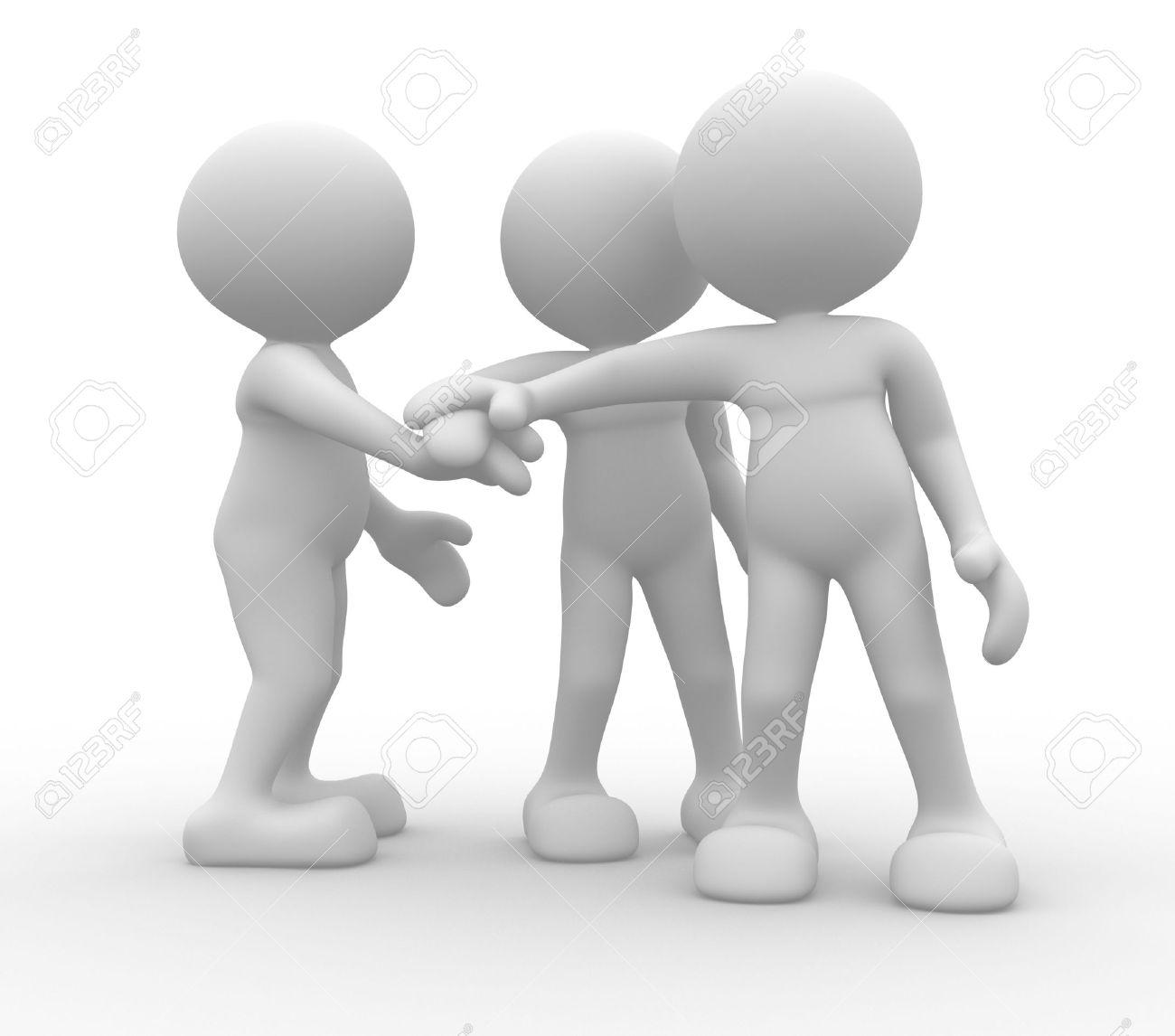 3d people - men, person together. Business team joining hands concept Standard-Bild - 17639973