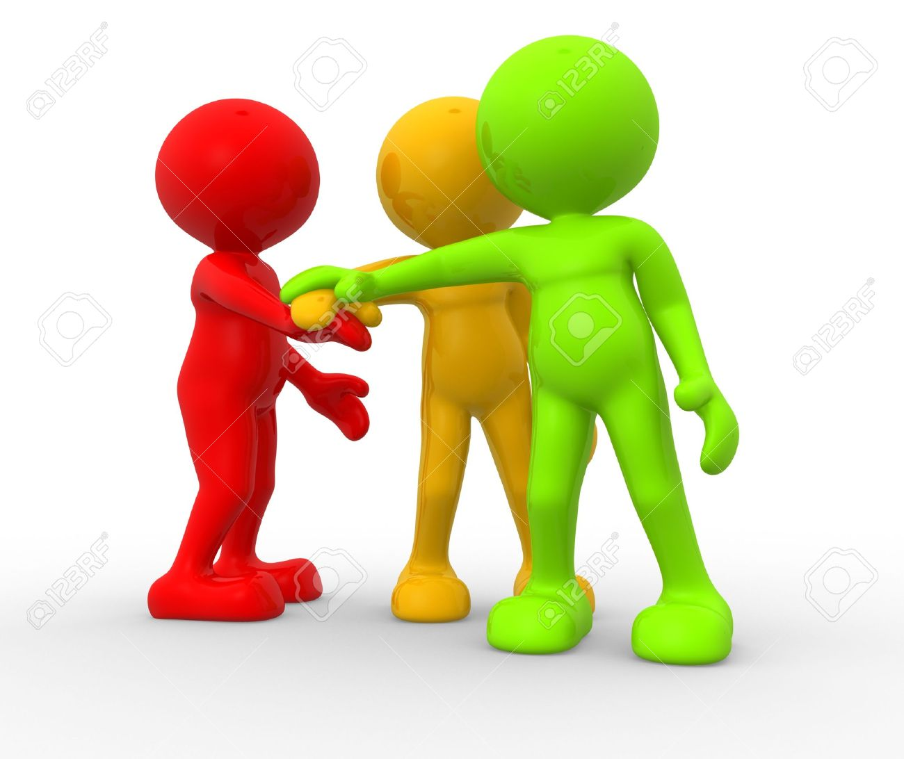 3d people - men, person together. Business team joining hands concept Standard-Bild - 17639982