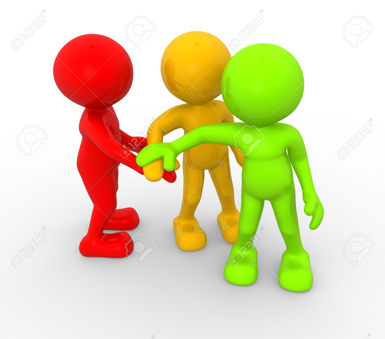 3d people - men, person together. Business team joining hands concept Standard-Bild - 17639990