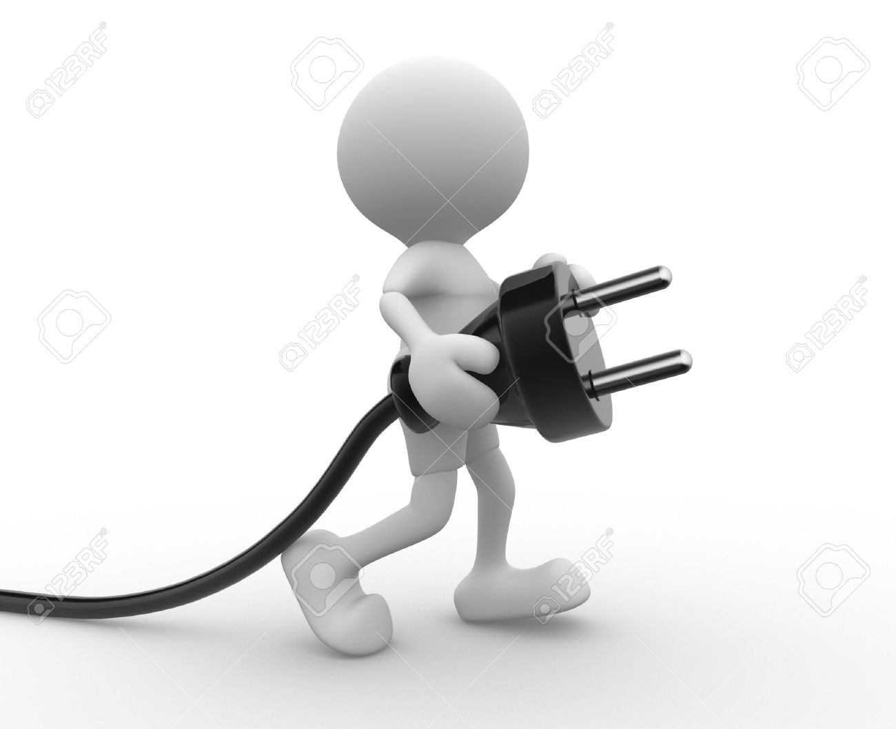 3d people - man, person carrying in his hand an electric plug. Standard-Bild - 17639963