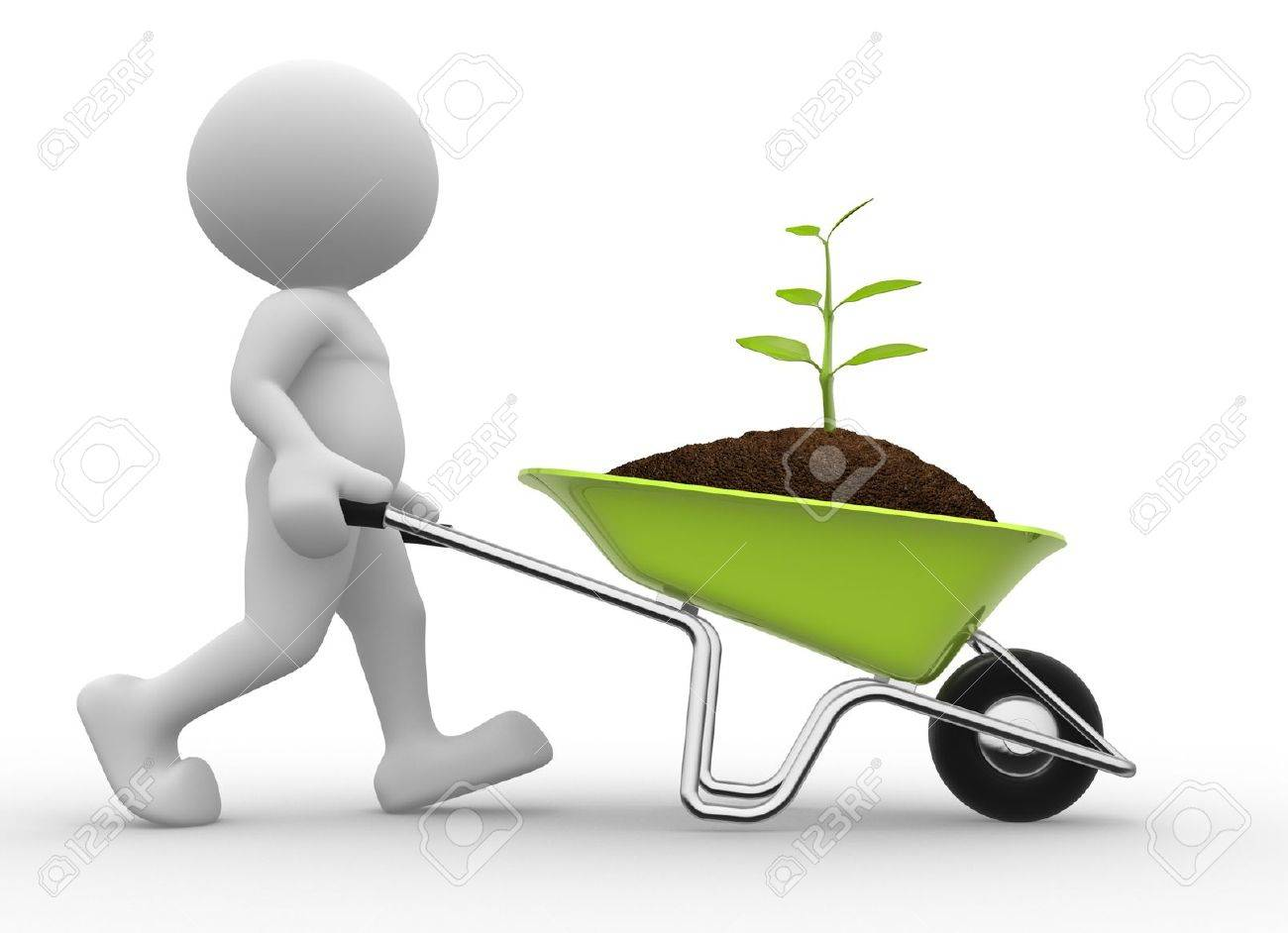 3d people - man, person with a wheelbarrow and a seedling Standard-Bild - 17639972