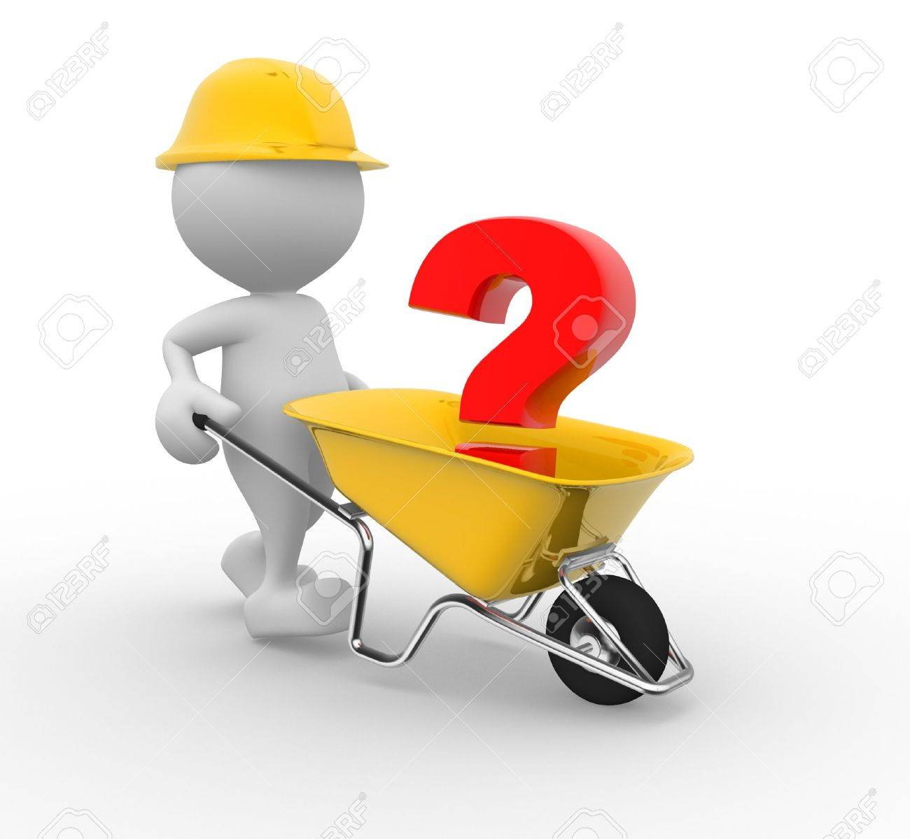 3d people - man, person with a wheelbarrow and a question mark Standard-Bild - 17639974