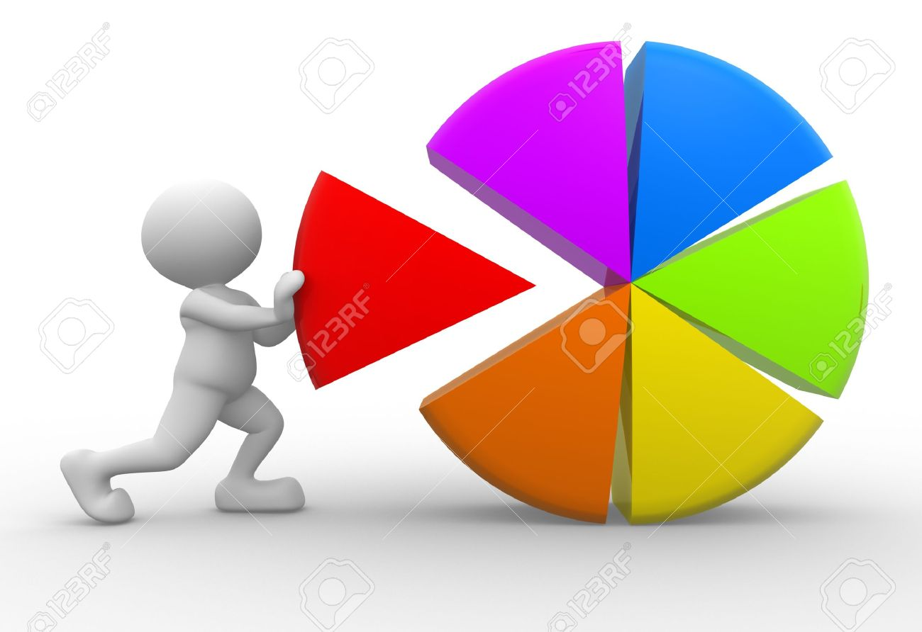 3d people - man, person with colorful pie chart Standard-Bild - 17639985