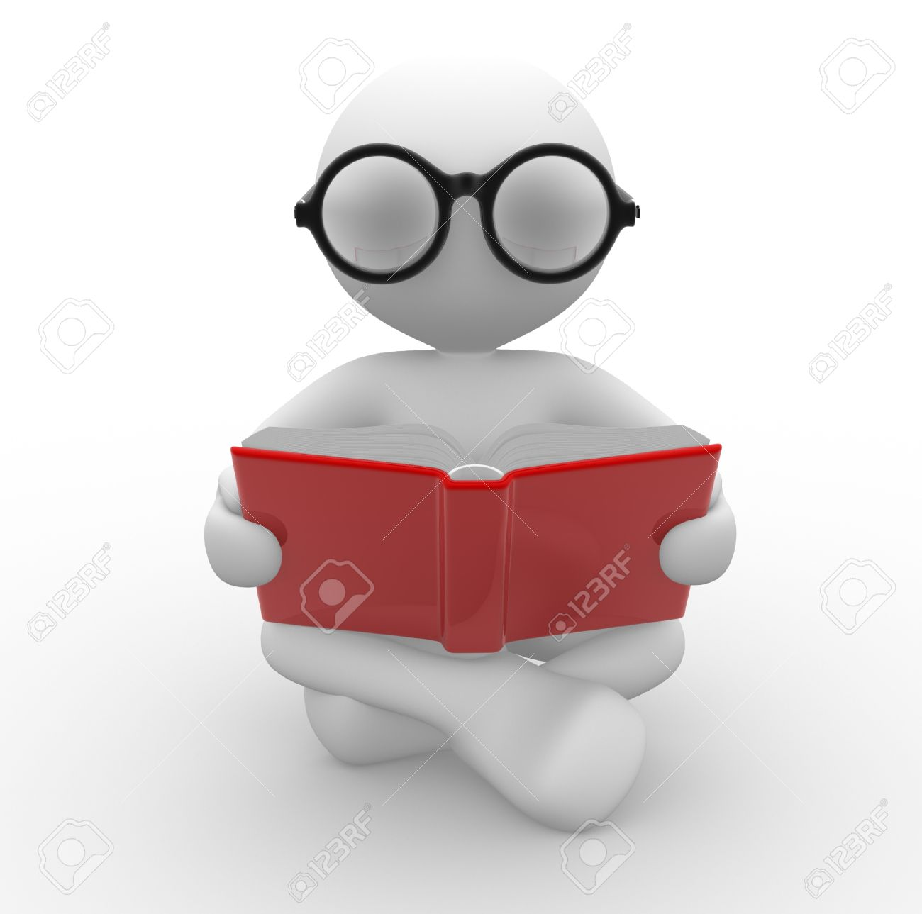 3d people - man, person with a open book. Education concept . Nerd. Standard-Bild - 17640058