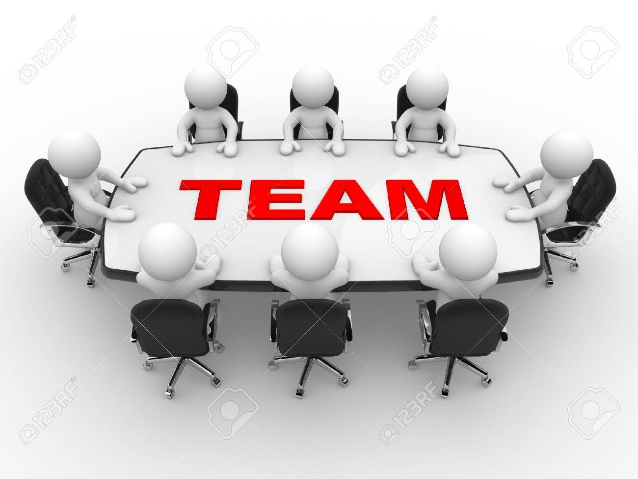 3d people - men, person at conference table. Teamwork Standard-Bild - 17640073