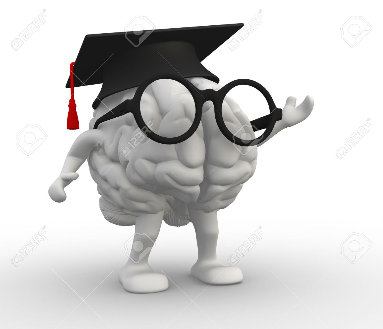 3d human brain with arms and legs, Graduation cap Standard-Bild - 17640034
